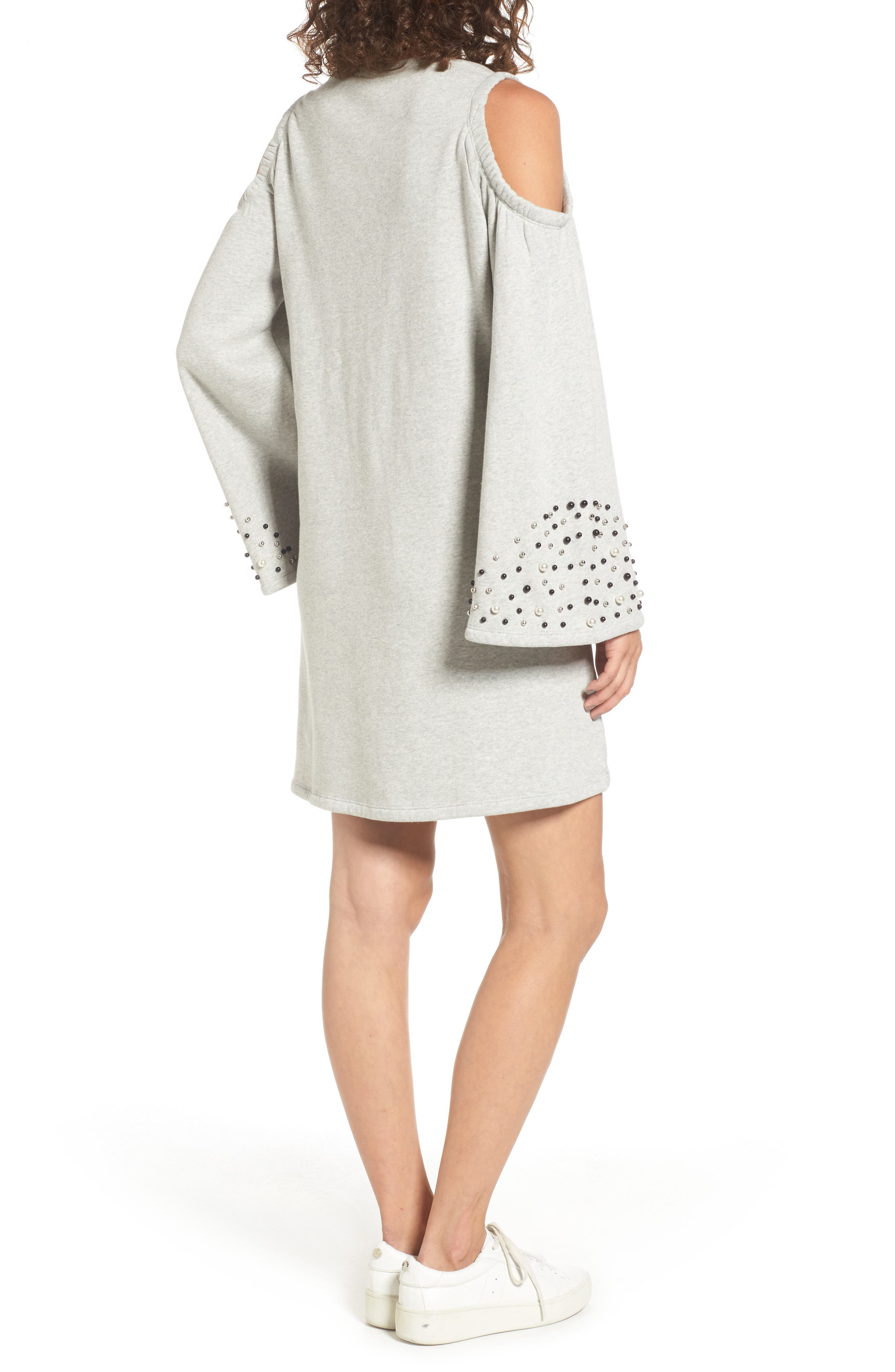 Alternate Image 2  - BP. Embellished Cold Shoulder Sweatshirt Dress
