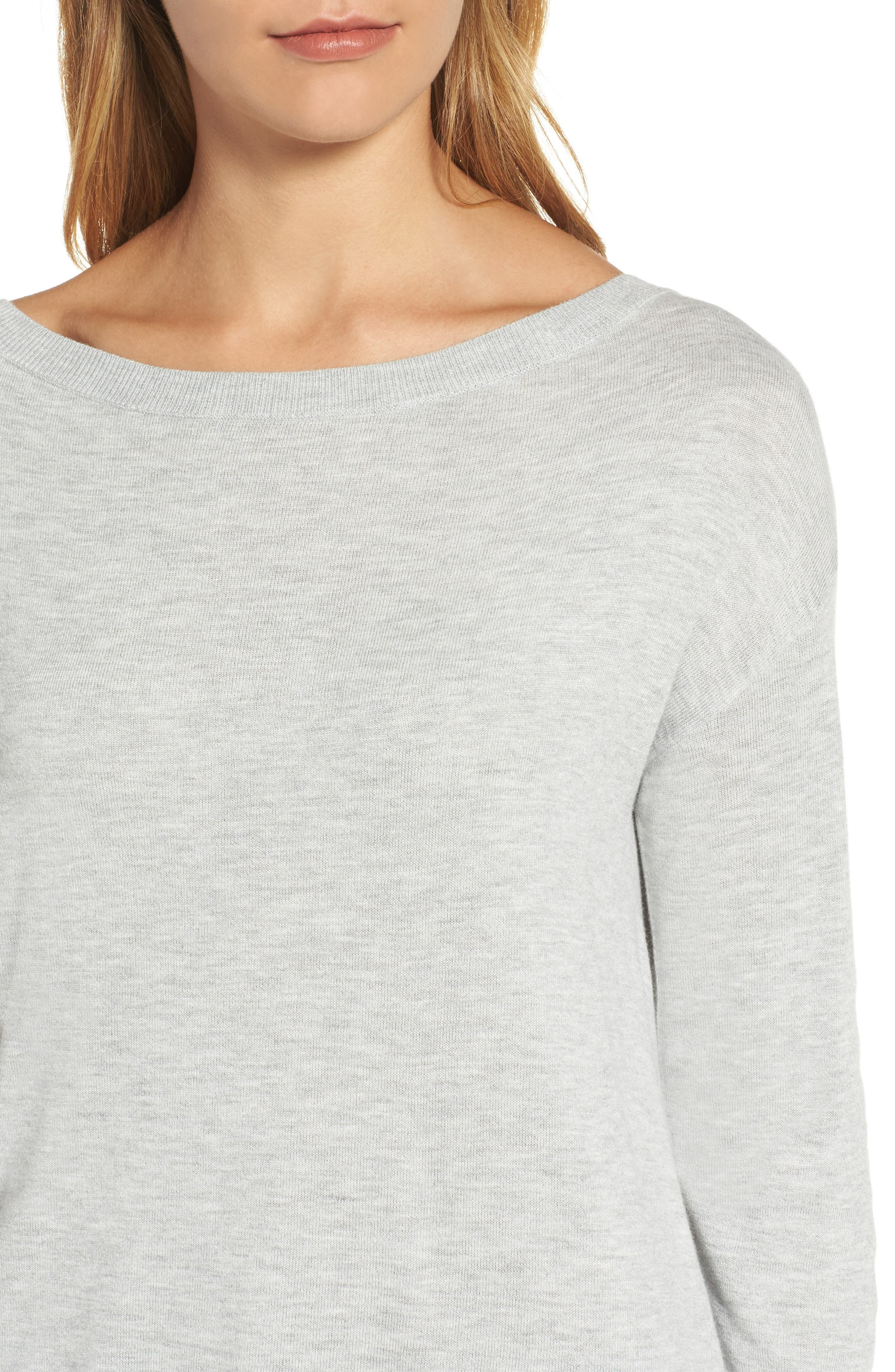 Boatneck Tunic Sweater,                             Alternate thumbnail 5, color,                             Heather Light Grey