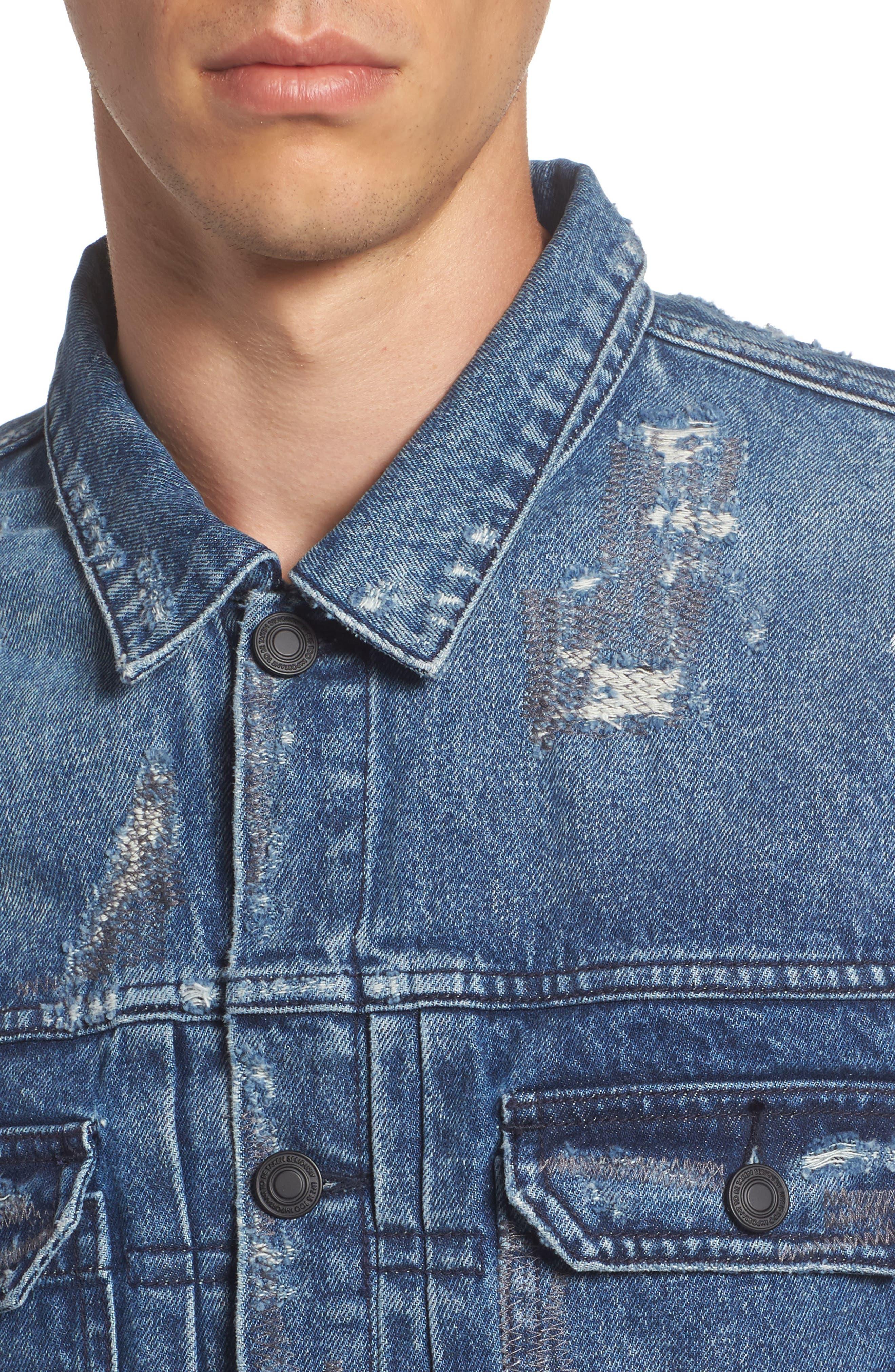 Trash Denim Jacket,                             Alternate thumbnail 4, color,                             Metal