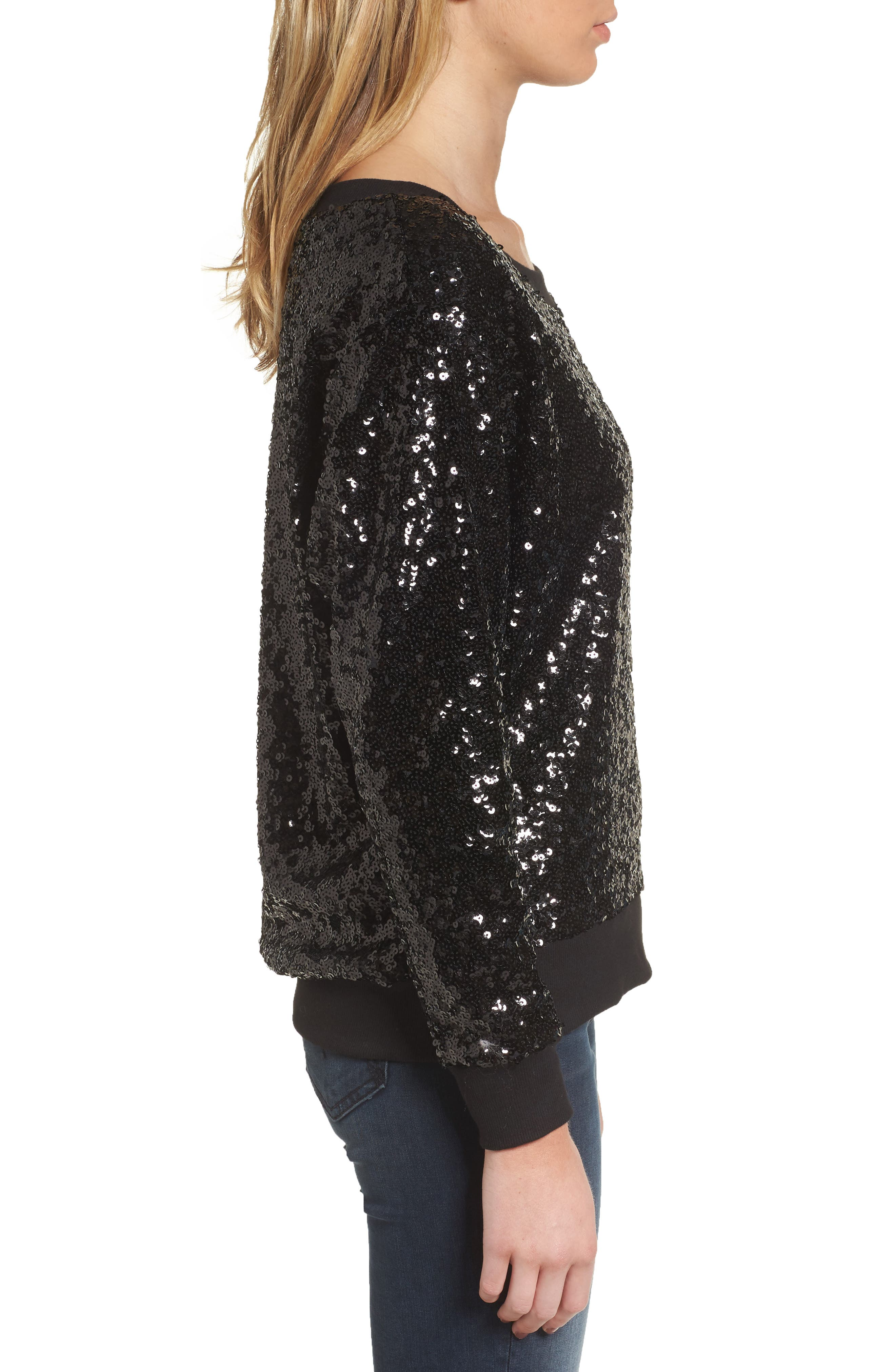 Sequin Sweatshirt,                             Alternate thumbnail 3, color,                             Black