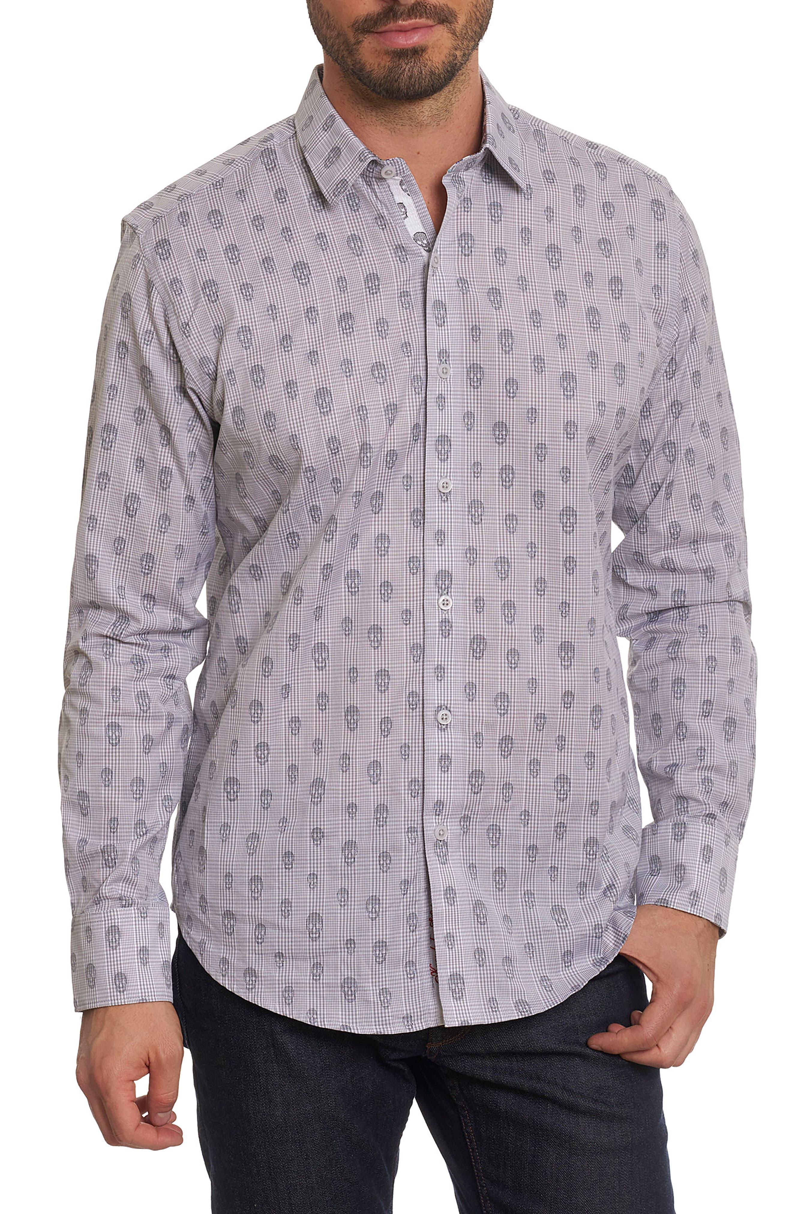 Kinderhook Classic Fit Skull Check Sport Shirt,                         Main,                         color, Grey