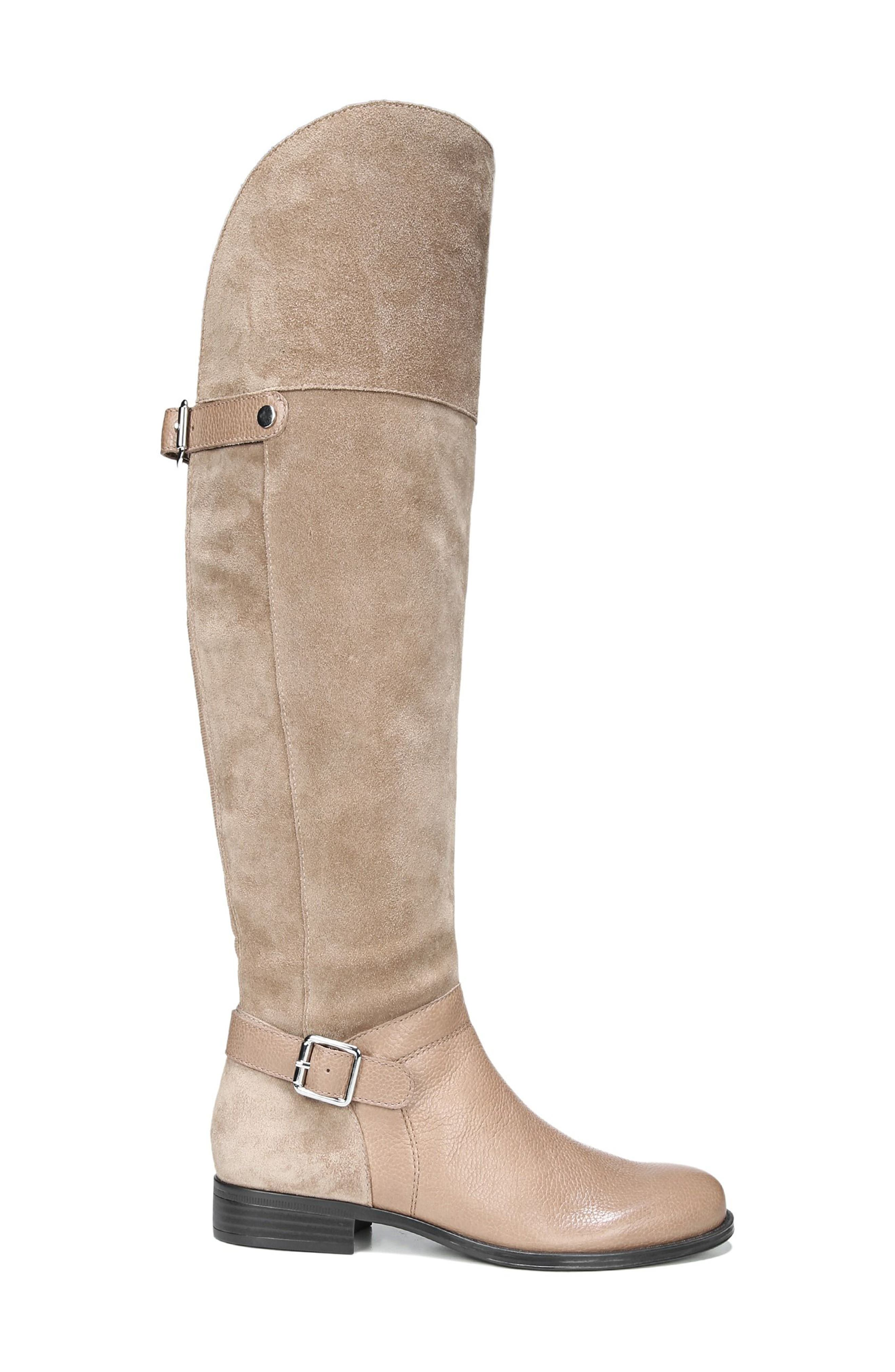 January Over the Knee High Boot,                             Alternate thumbnail 3, color,                             Beige Leather