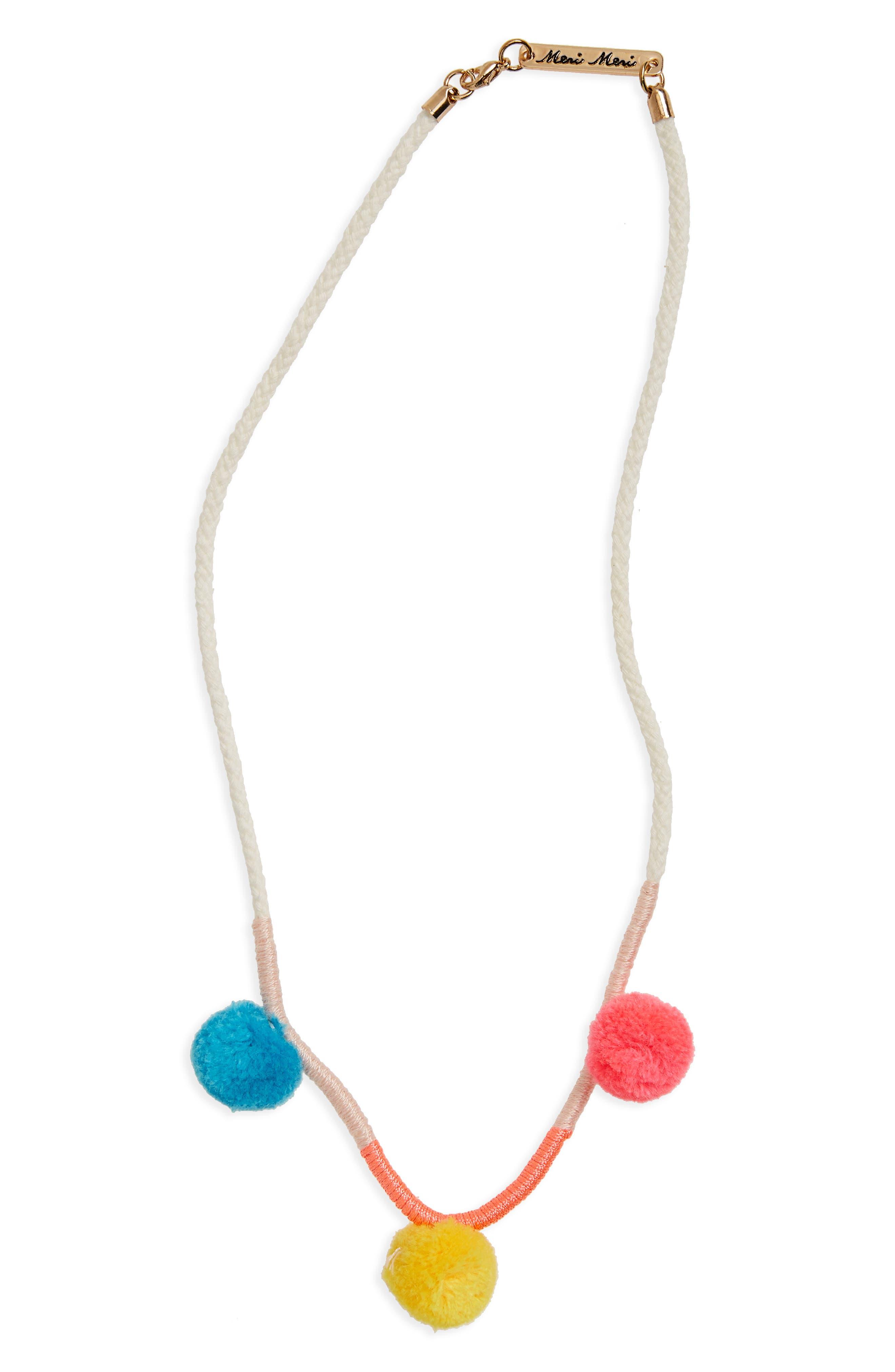 Pompom Necklace,                         Main,                         color, Multi