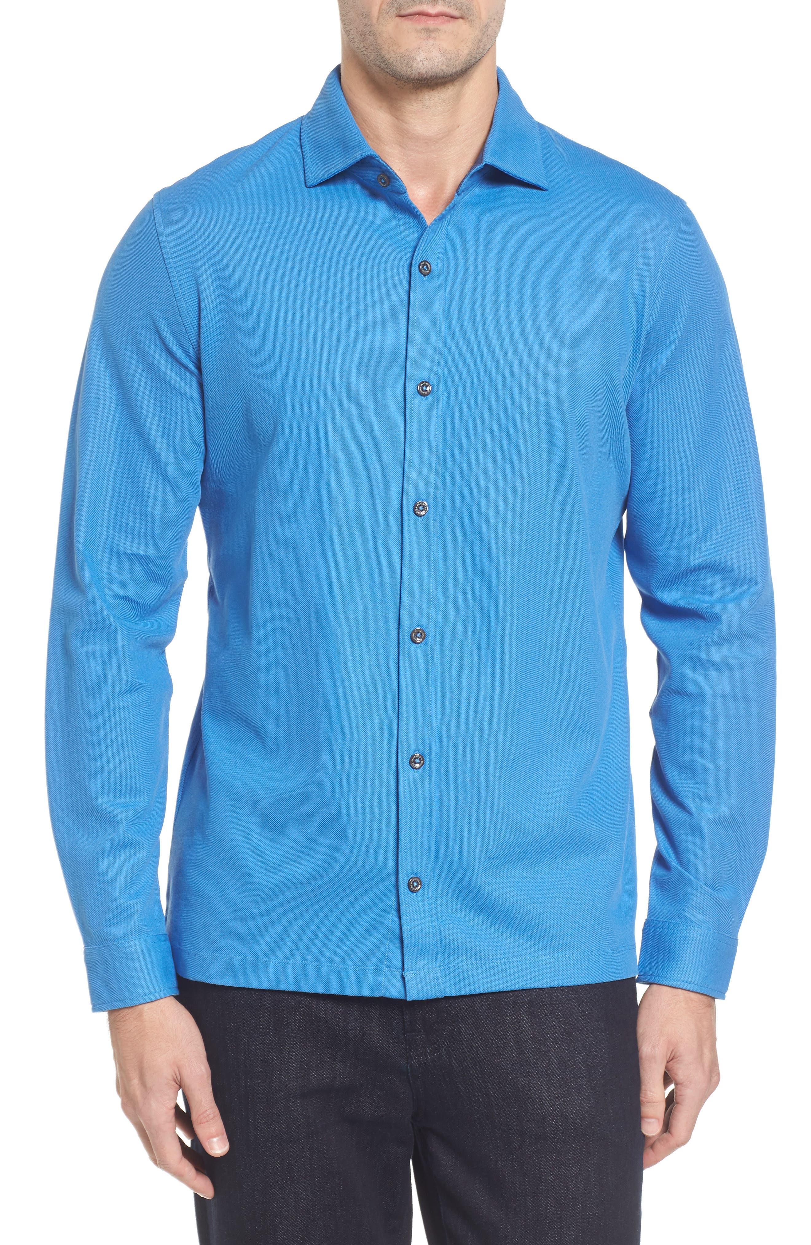 Classic Fit Piqué Knit Shirt,                             Main thumbnail 1, color,                             Classic Blue