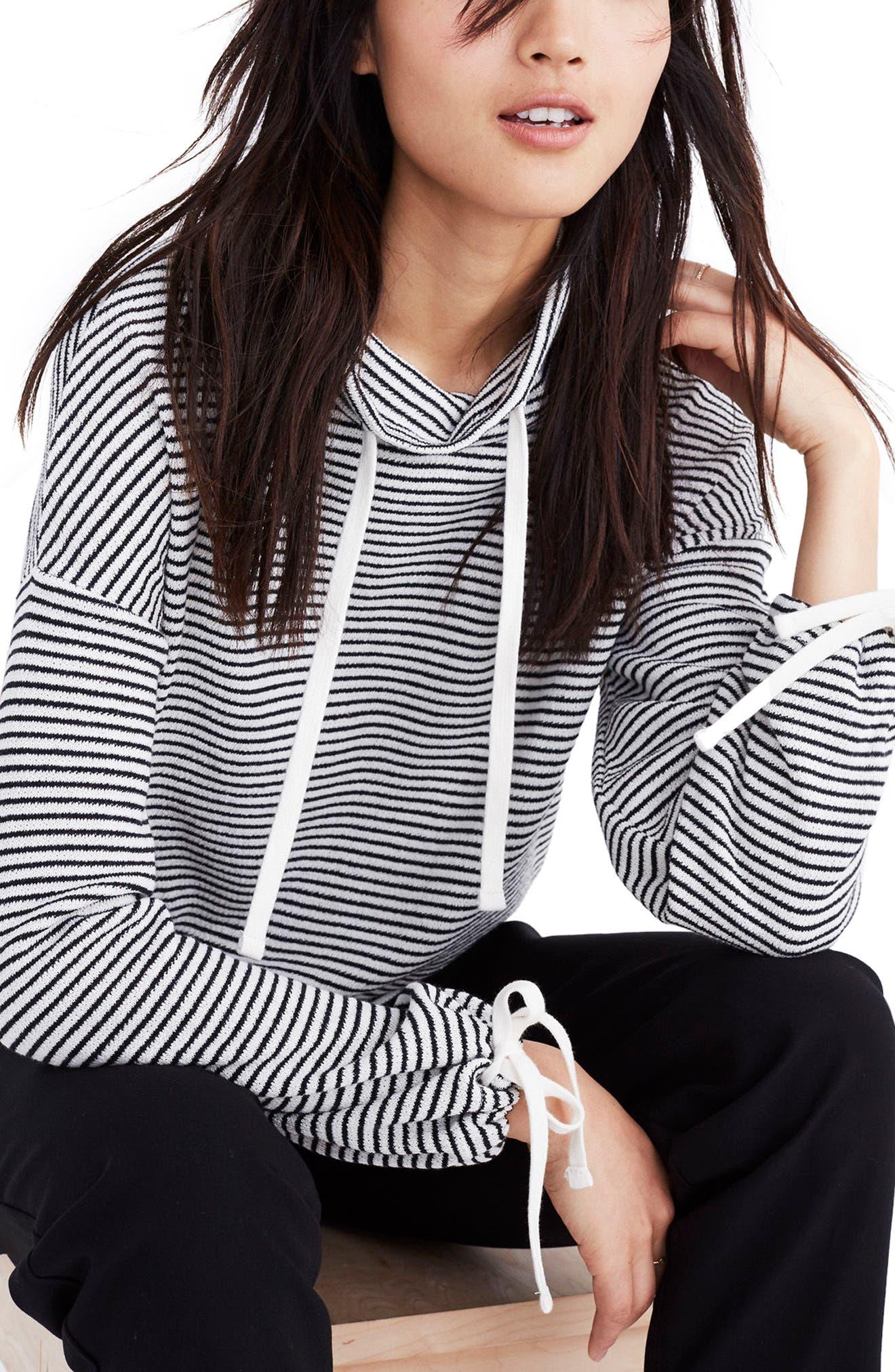 Stripe Funnel Neck Tie Sleeve Sweatshirt,                             Alternate thumbnail 3, color,                             Antique Cream