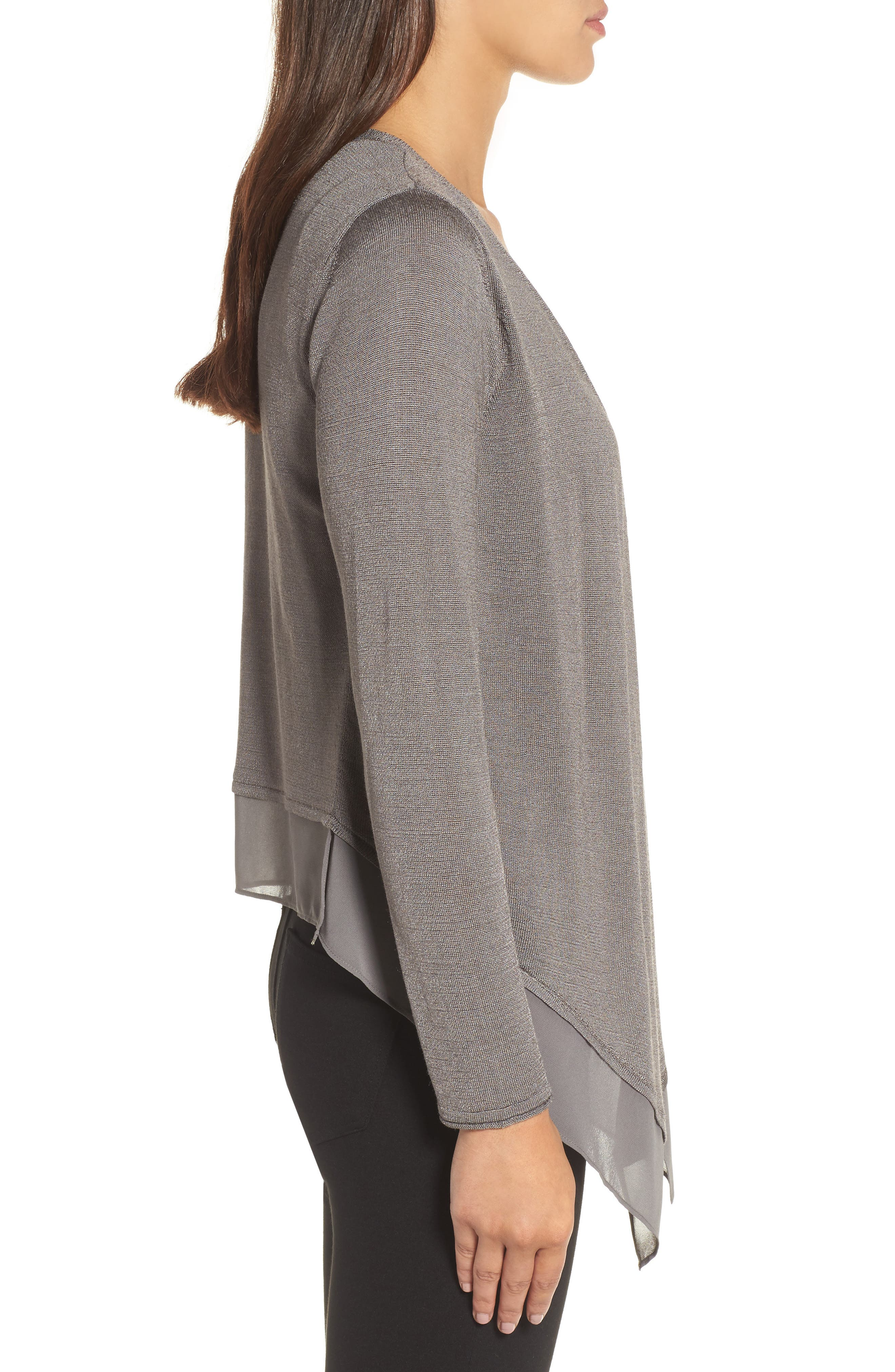 Paired Up Silk Blend Cardigan,                             Alternate thumbnail 3, color,                             Warm Grey