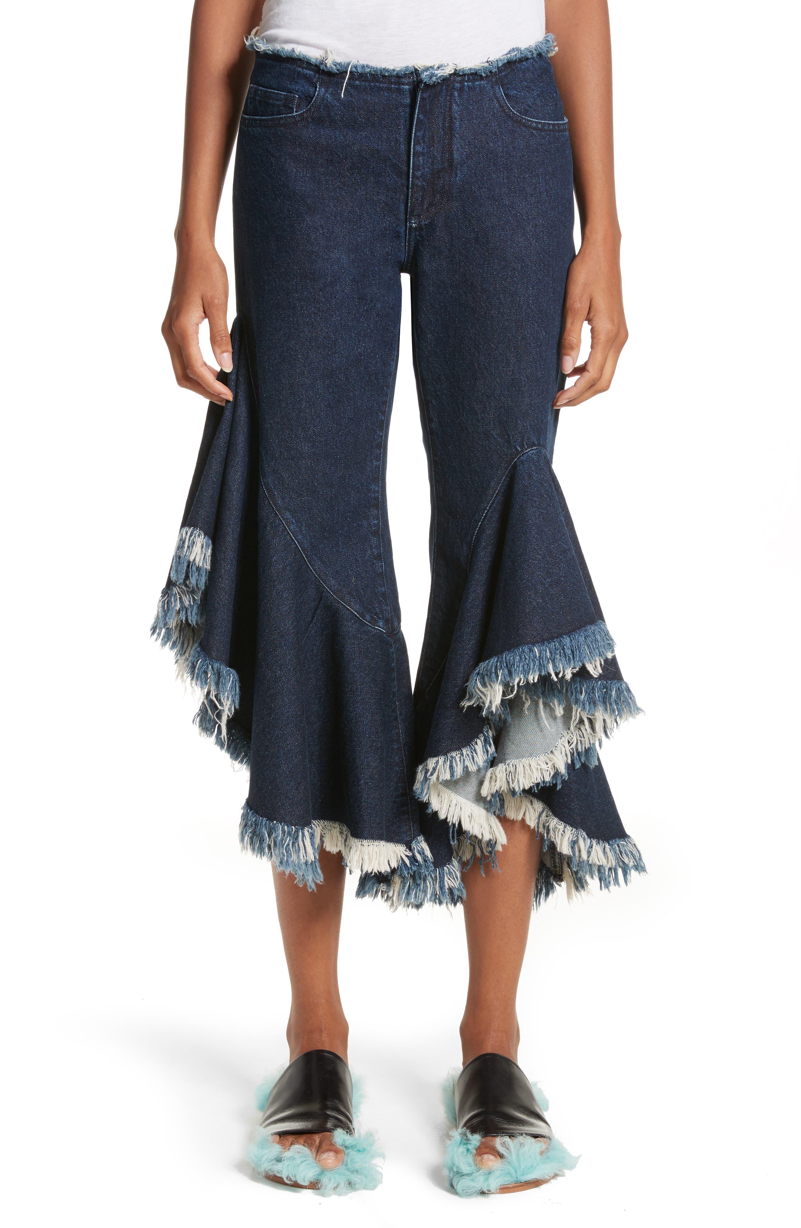 Marques'Almeida Frill Flare Crop Jeans,                         Main,                         color, Indigo