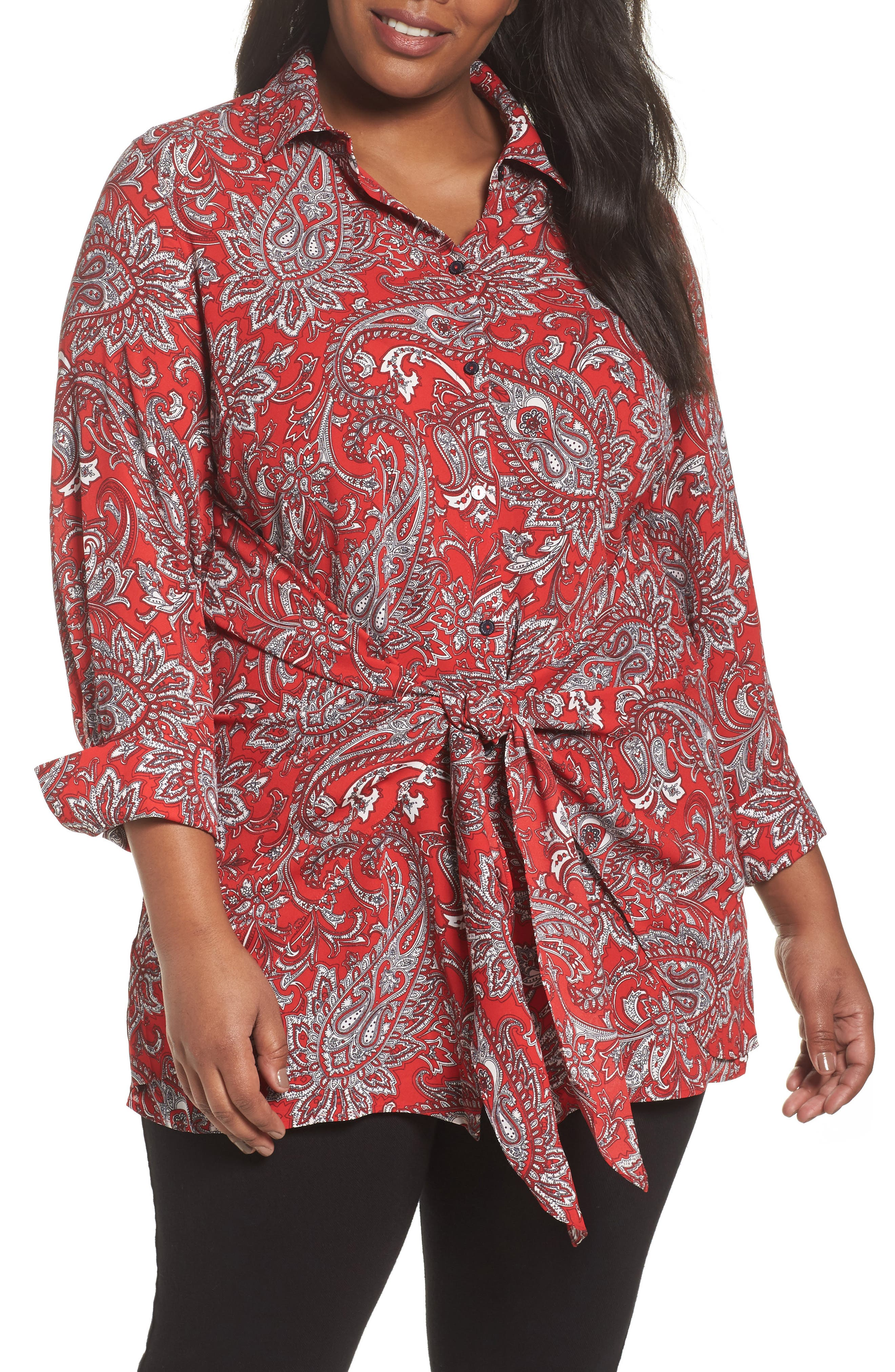 Serena Romantic Paisley Knotted Crepe Tunic Blouse,                             Main thumbnail 1, color,                             Red Multi