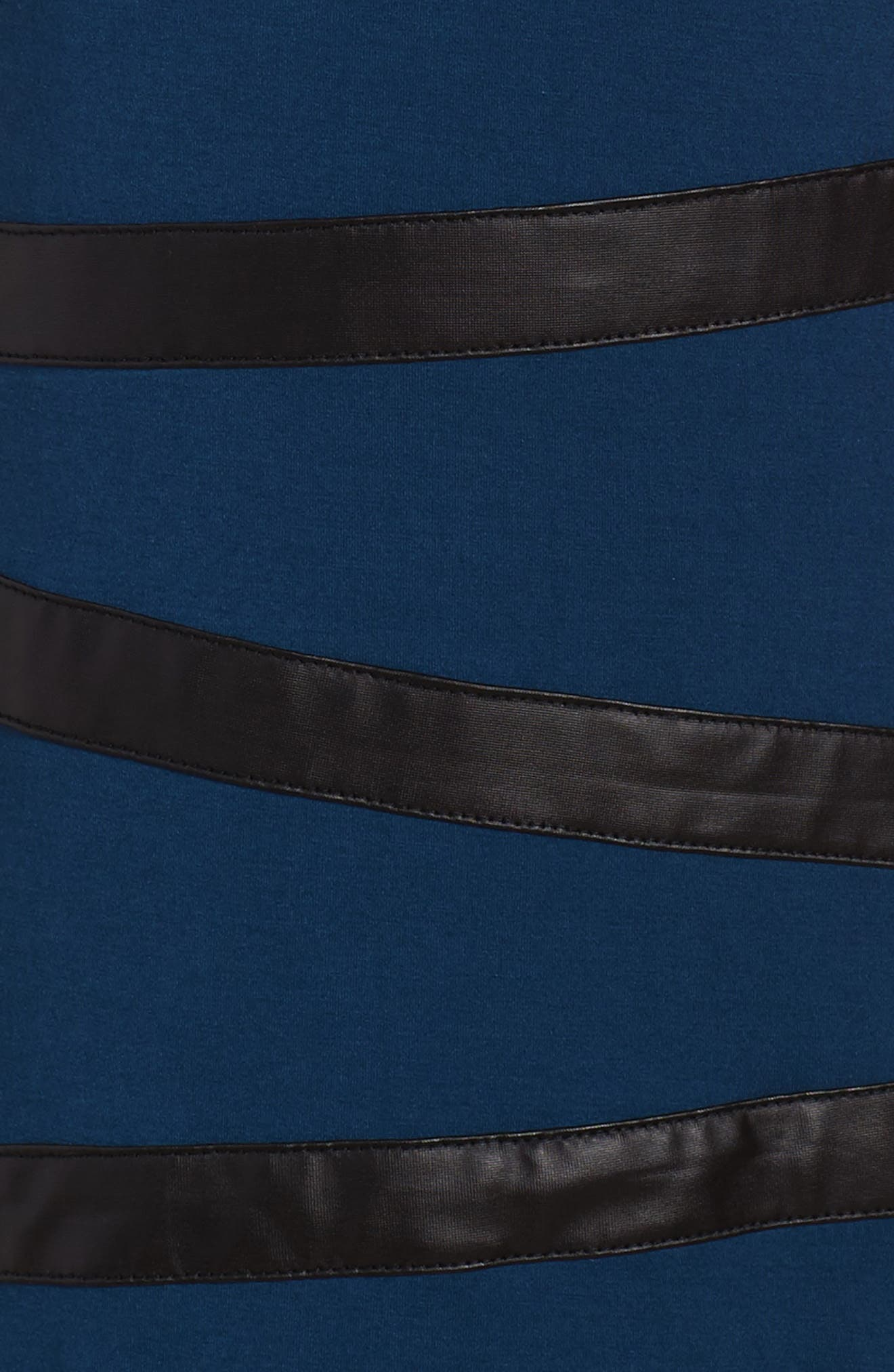 Faux Leather Trim Dress,                             Alternate thumbnail 3, color,                             Navy