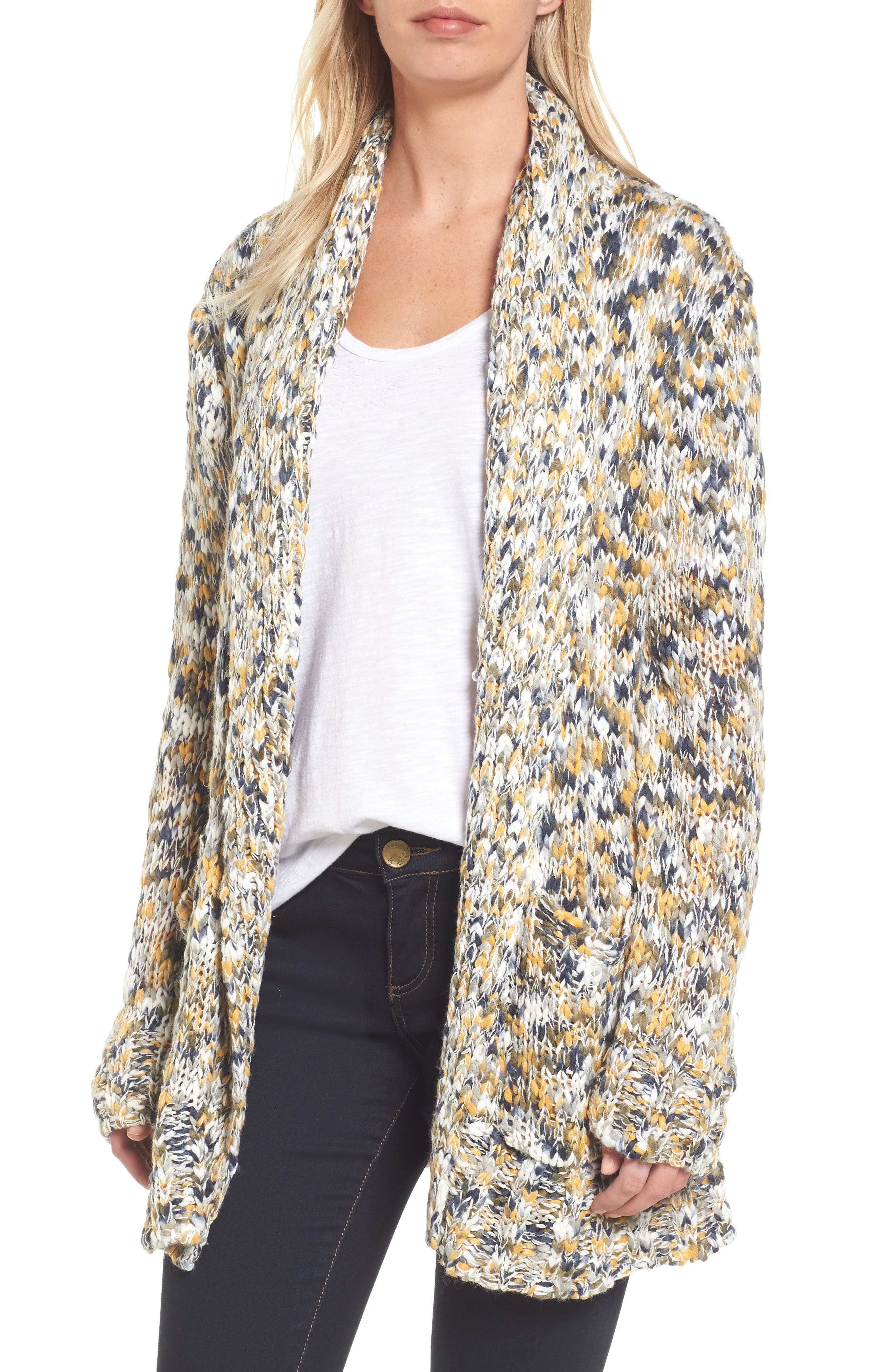 Confetti Knit Shawl Collar Sweater,                             Main thumbnail 1, color,                             Earth Mix