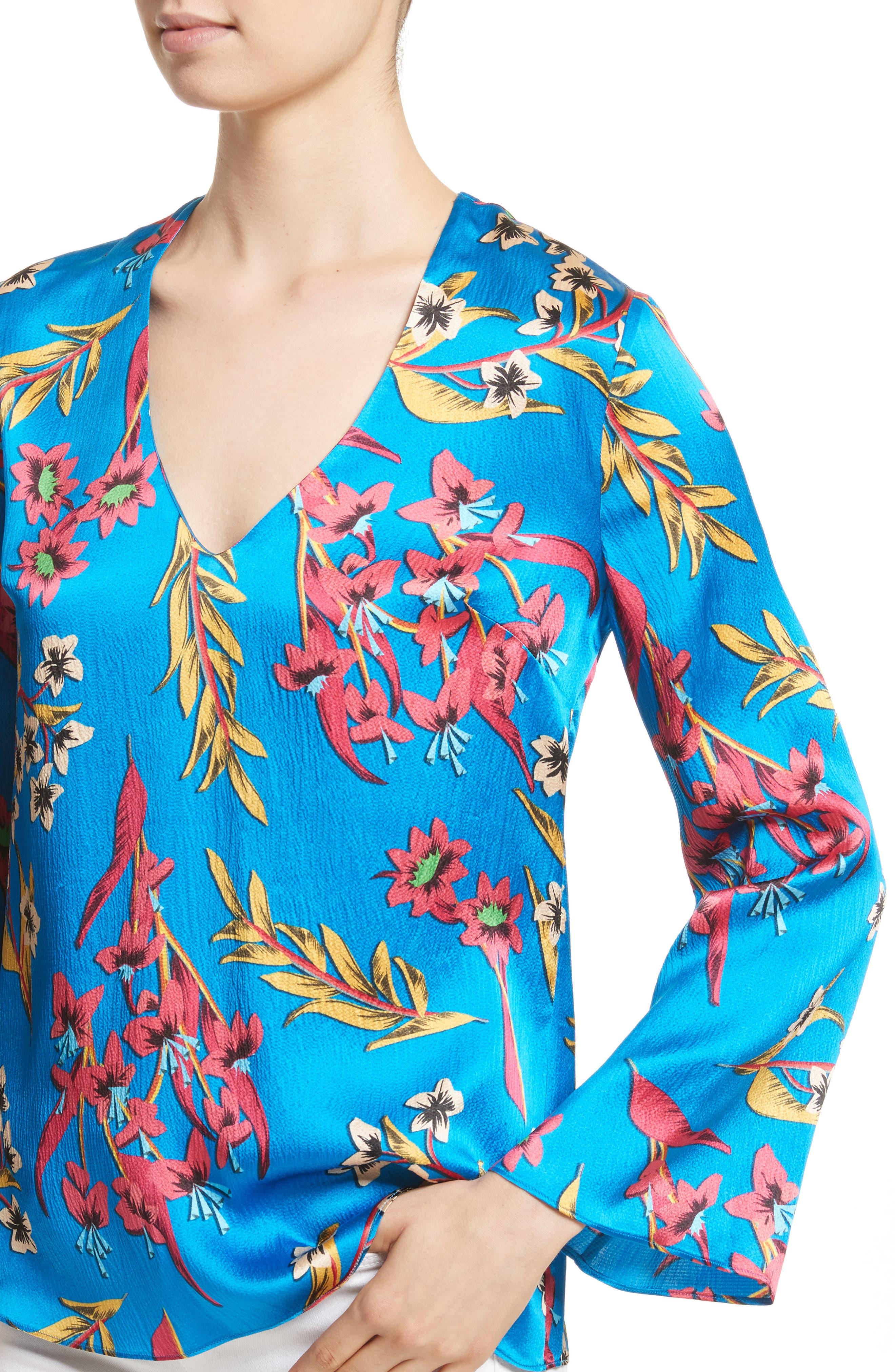 Alternate Image 5  - Etro Jungle Floral Print Silk Blouse