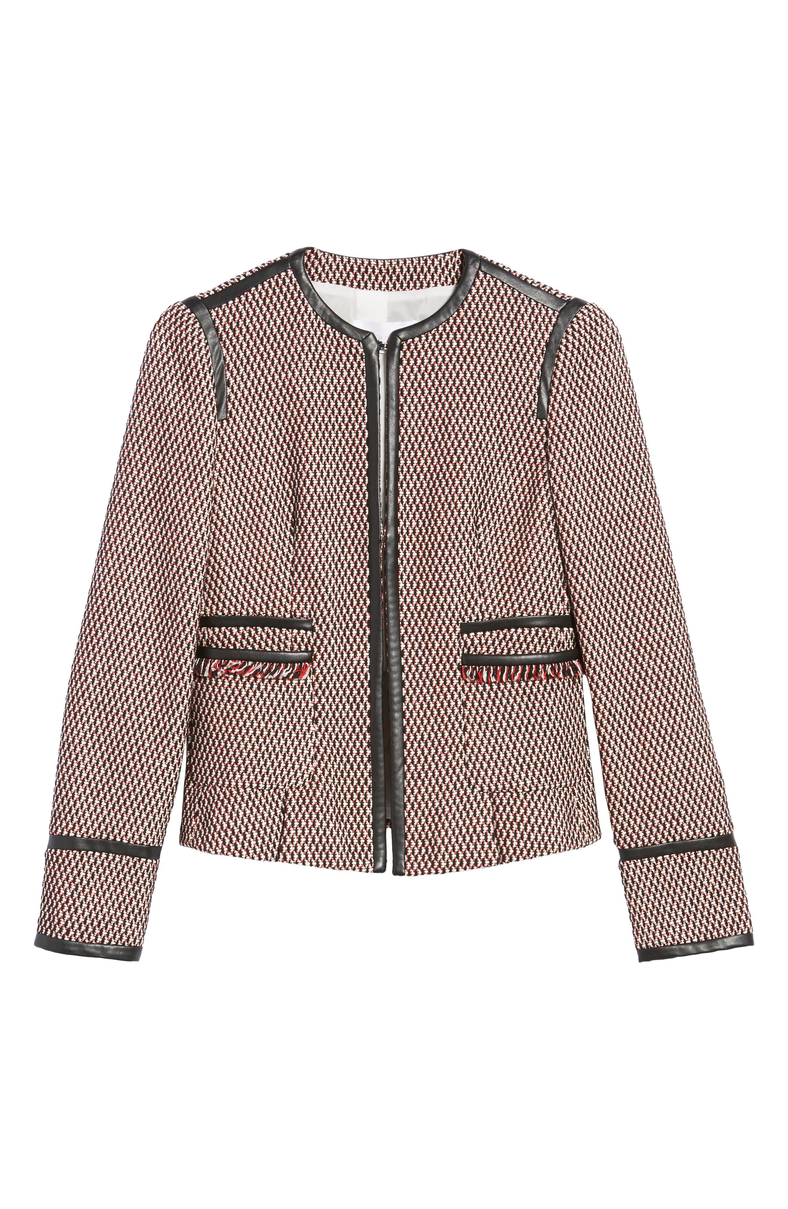 Keili Collarless Tweed Jacket,                             Alternate thumbnail 7, color,                             Vanilla Fantasy