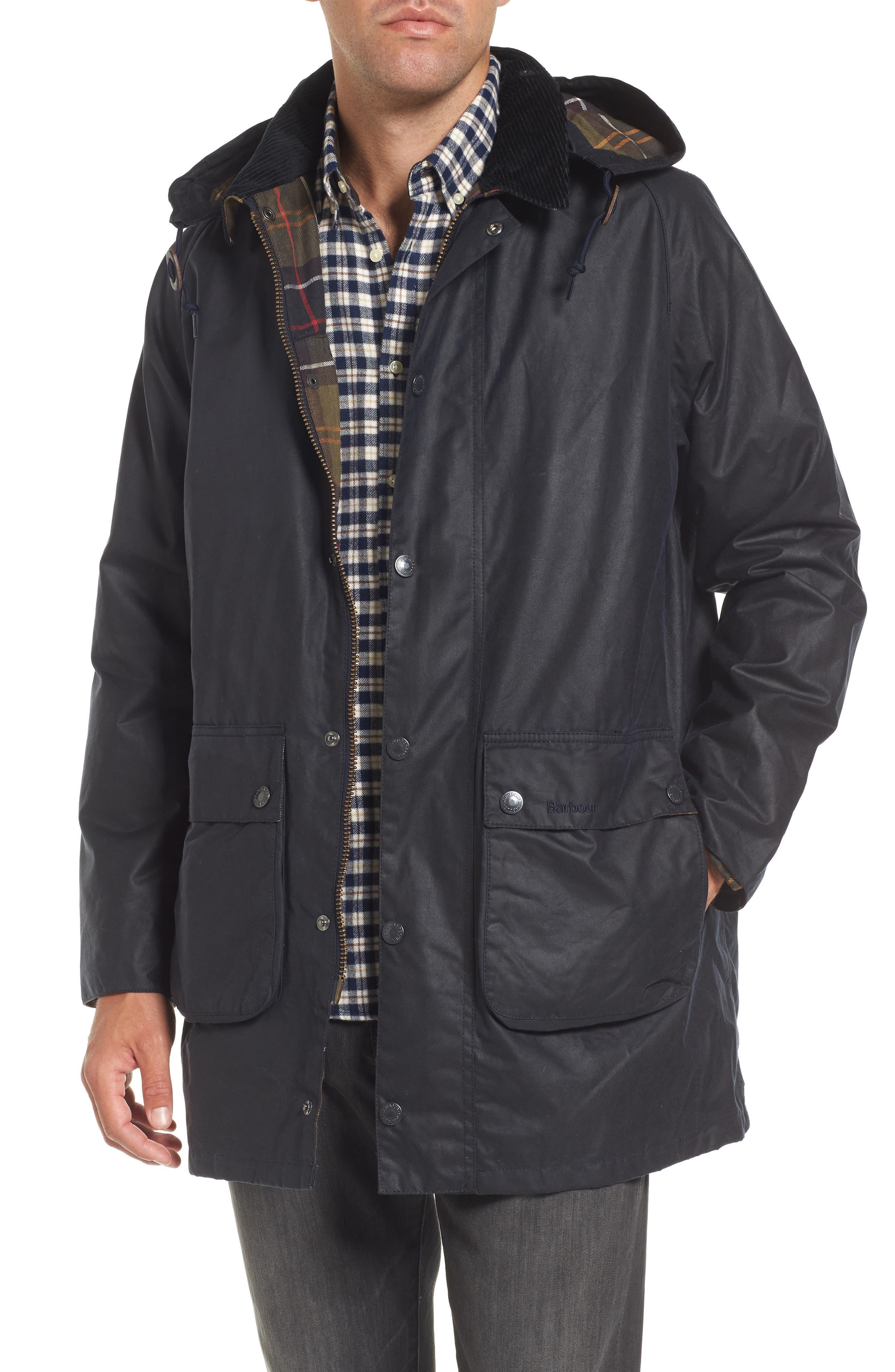 Leighton Waxed Cotton Jacket,                             Main thumbnail 1, color,                             Navy
