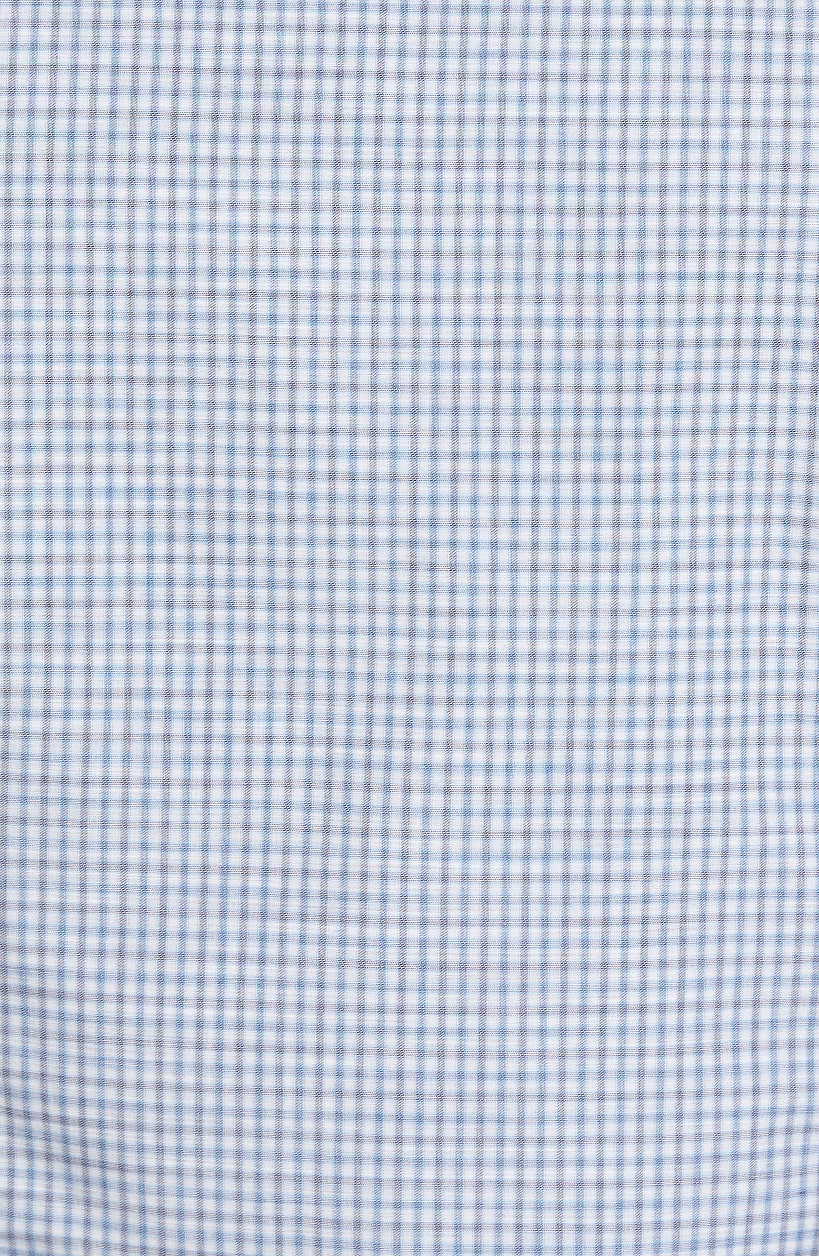 Slim Fit Plaid Sport Shirt,                             Alternate thumbnail 5, color,                             Blue