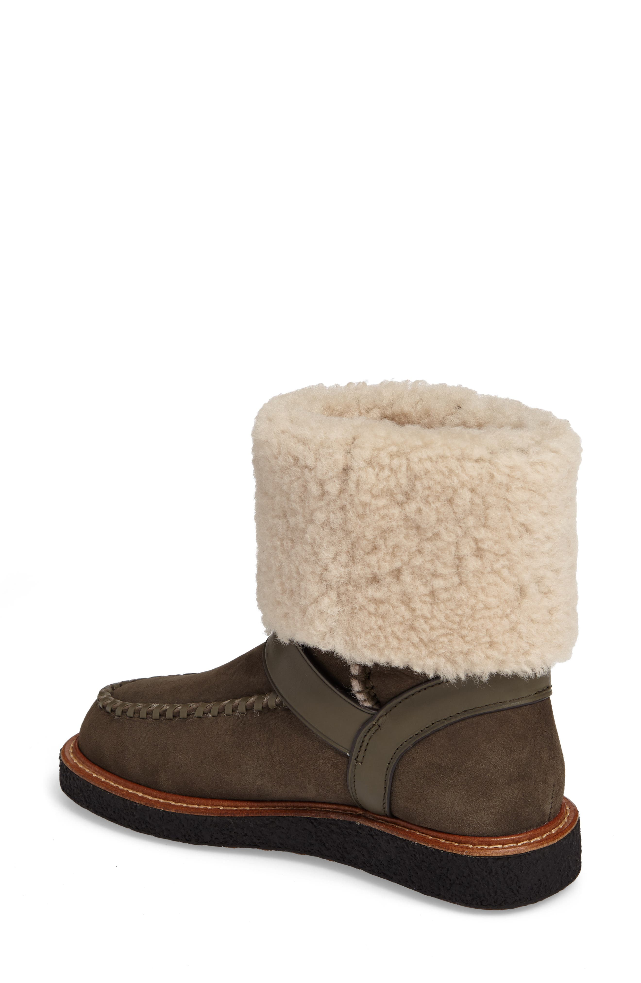 Genuine Shearling Moto Boot,                             Alternate thumbnail 2, color,                             Olive Suede