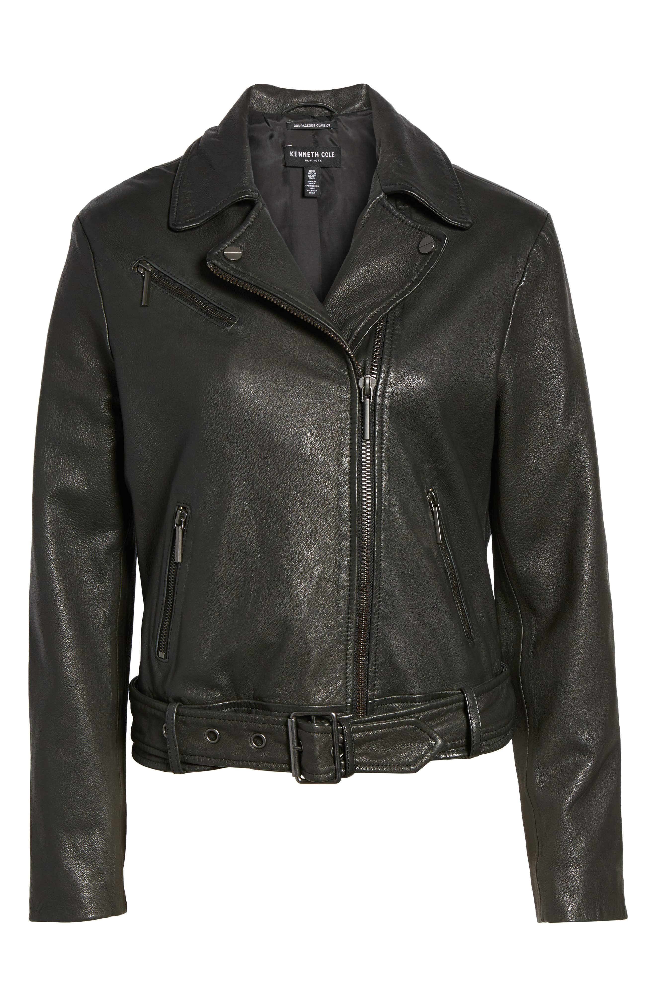 Alternate Image 5  - Kenneth Cole New York Leather Moto Jacket