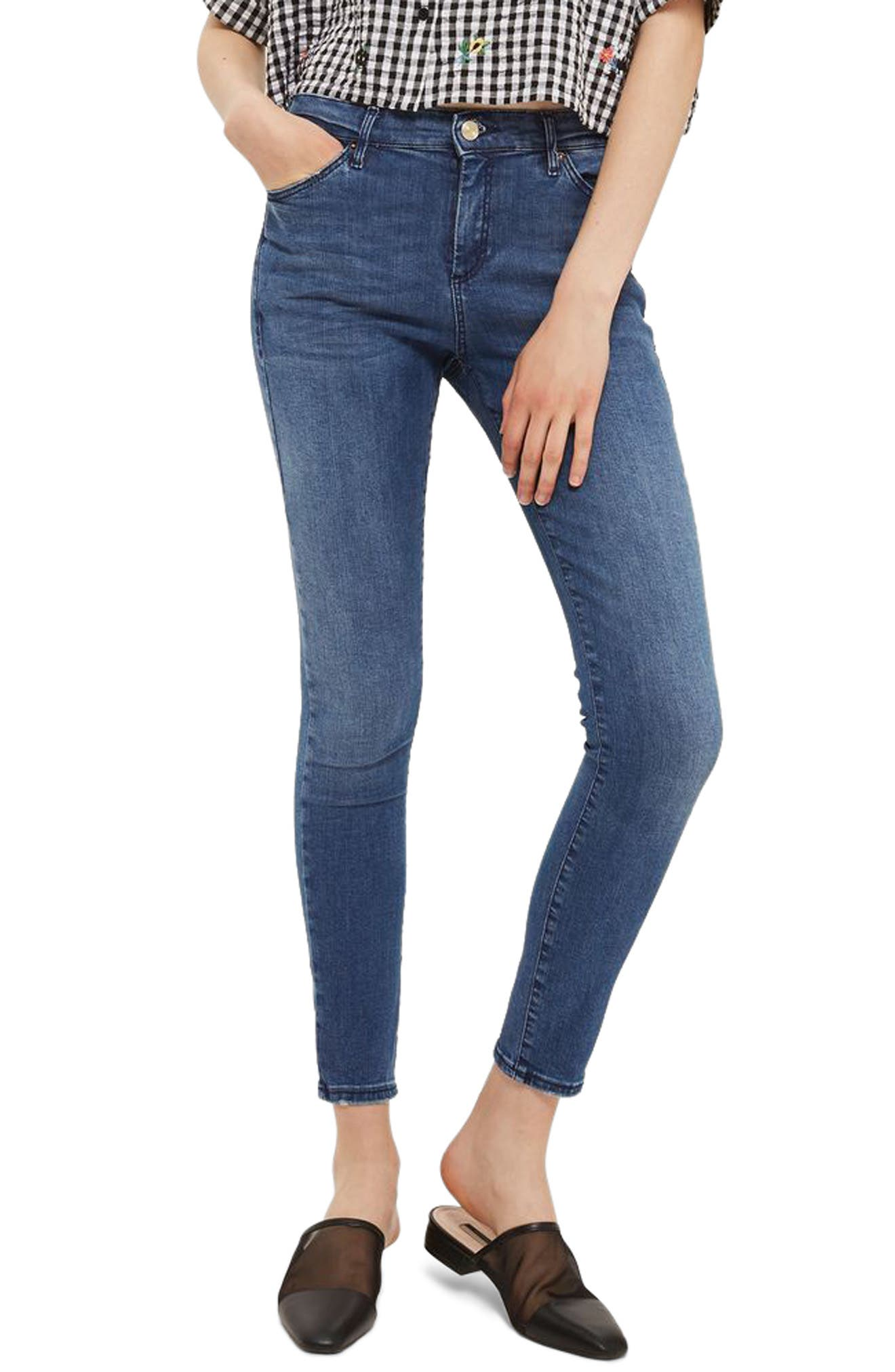 Sidney Skinny Ankle Jeans,                             Main thumbnail 1, color,                             Mid Denim