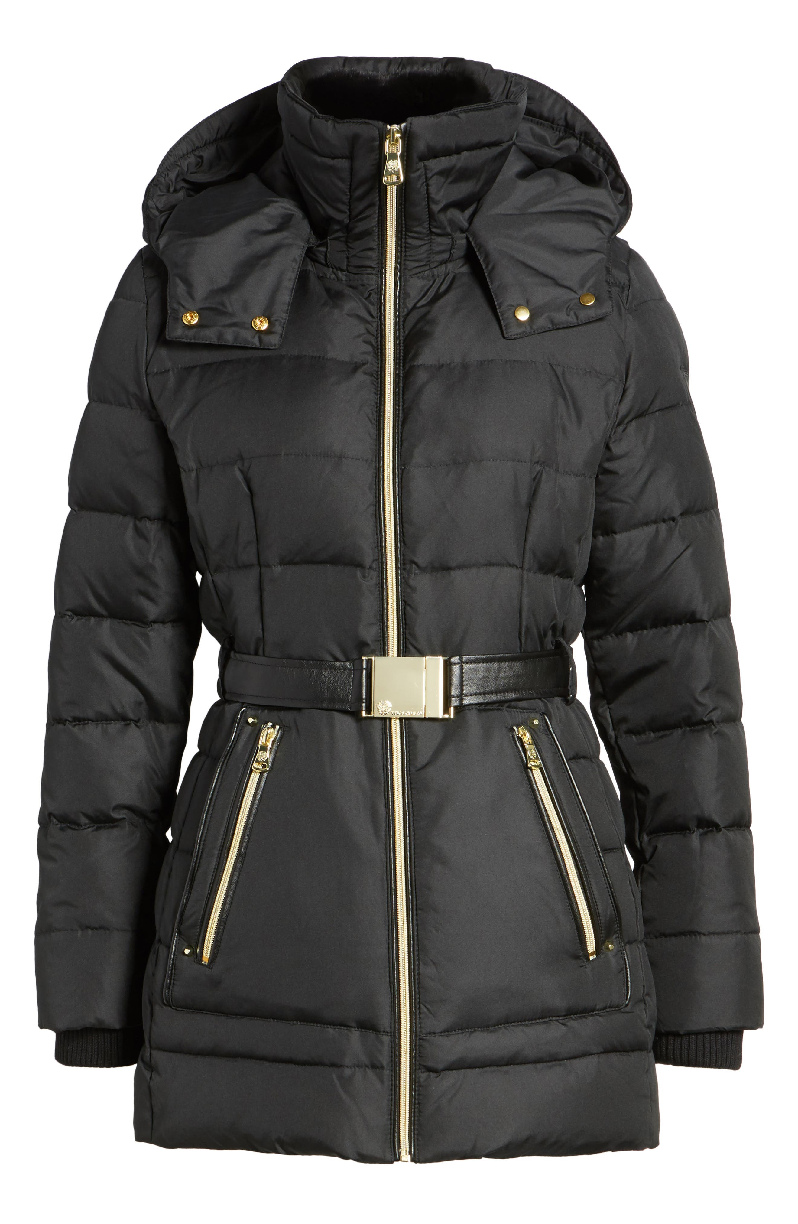 Alternate Image 6  - Vince Camuto Belted Down & Feather Jacket with Faux Fur