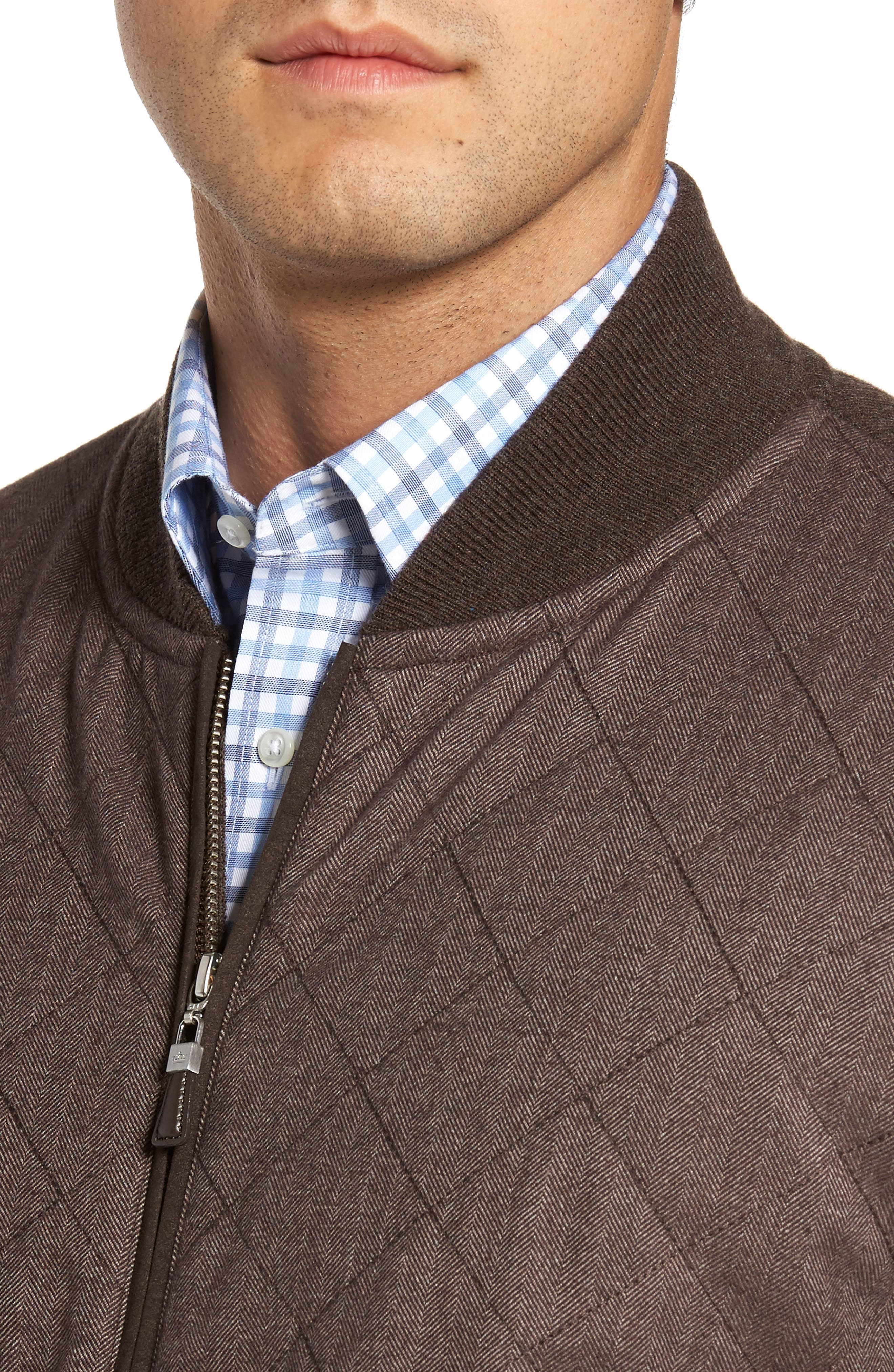 Crown Quilt Front Merino Wool Blend Cardigan,                             Alternate thumbnail 4, color,                             Canopy Brown