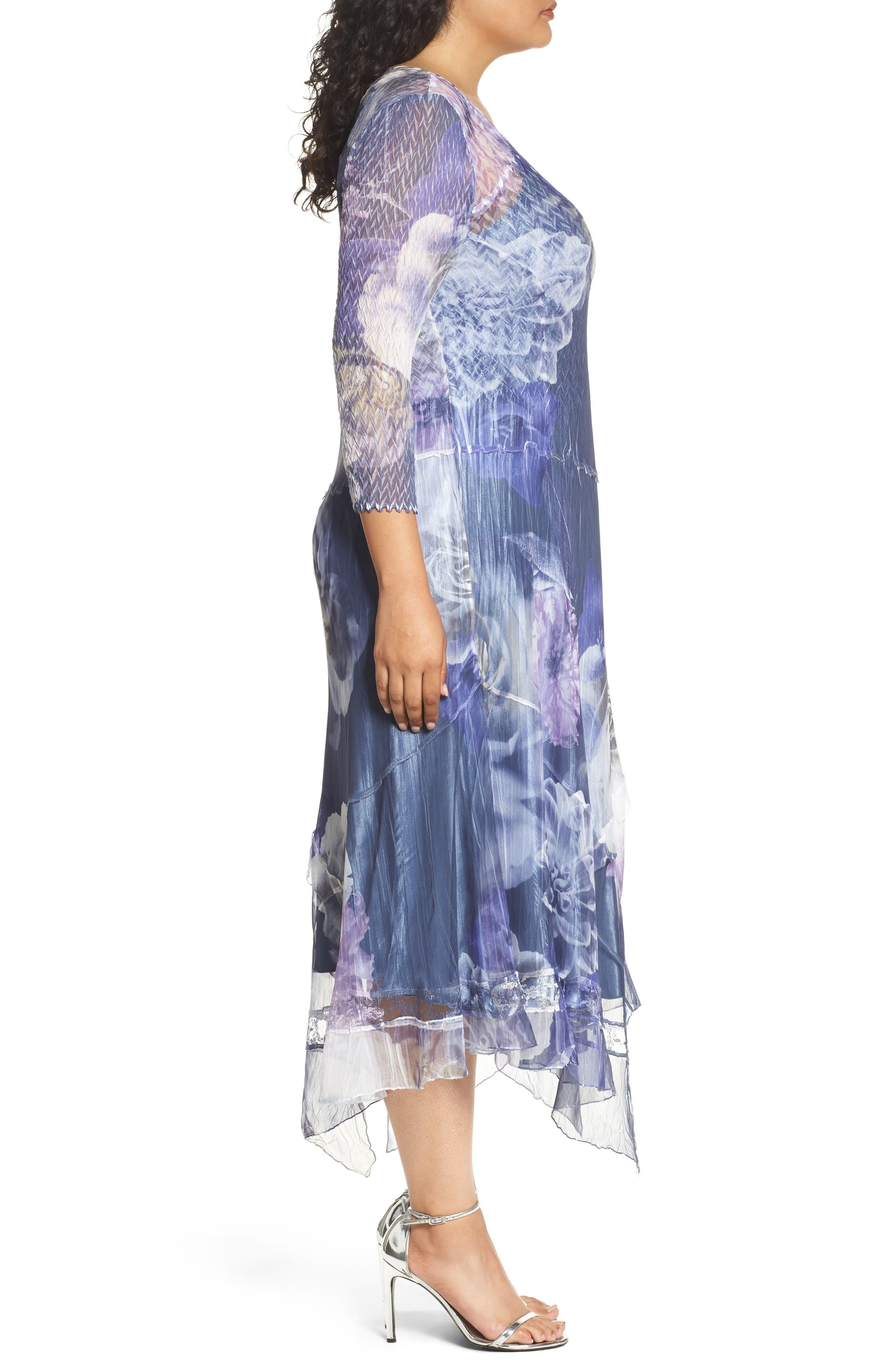 Chiffon Handkerchief Hem Dress,                             Alternate thumbnail 3, color,                             Indigo Shadow