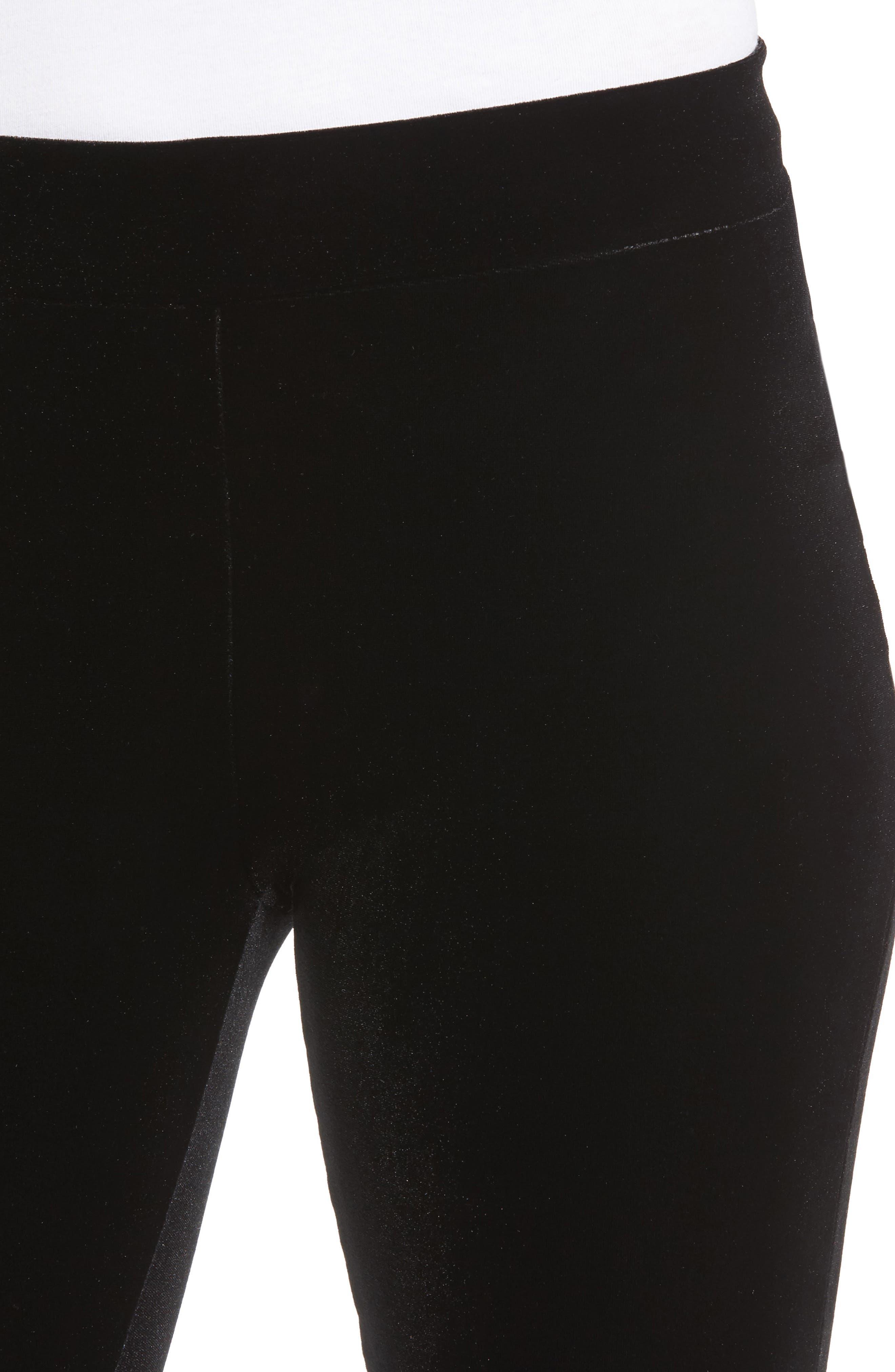 Velvet Leggings,                             Alternate thumbnail 4, color,                             Black