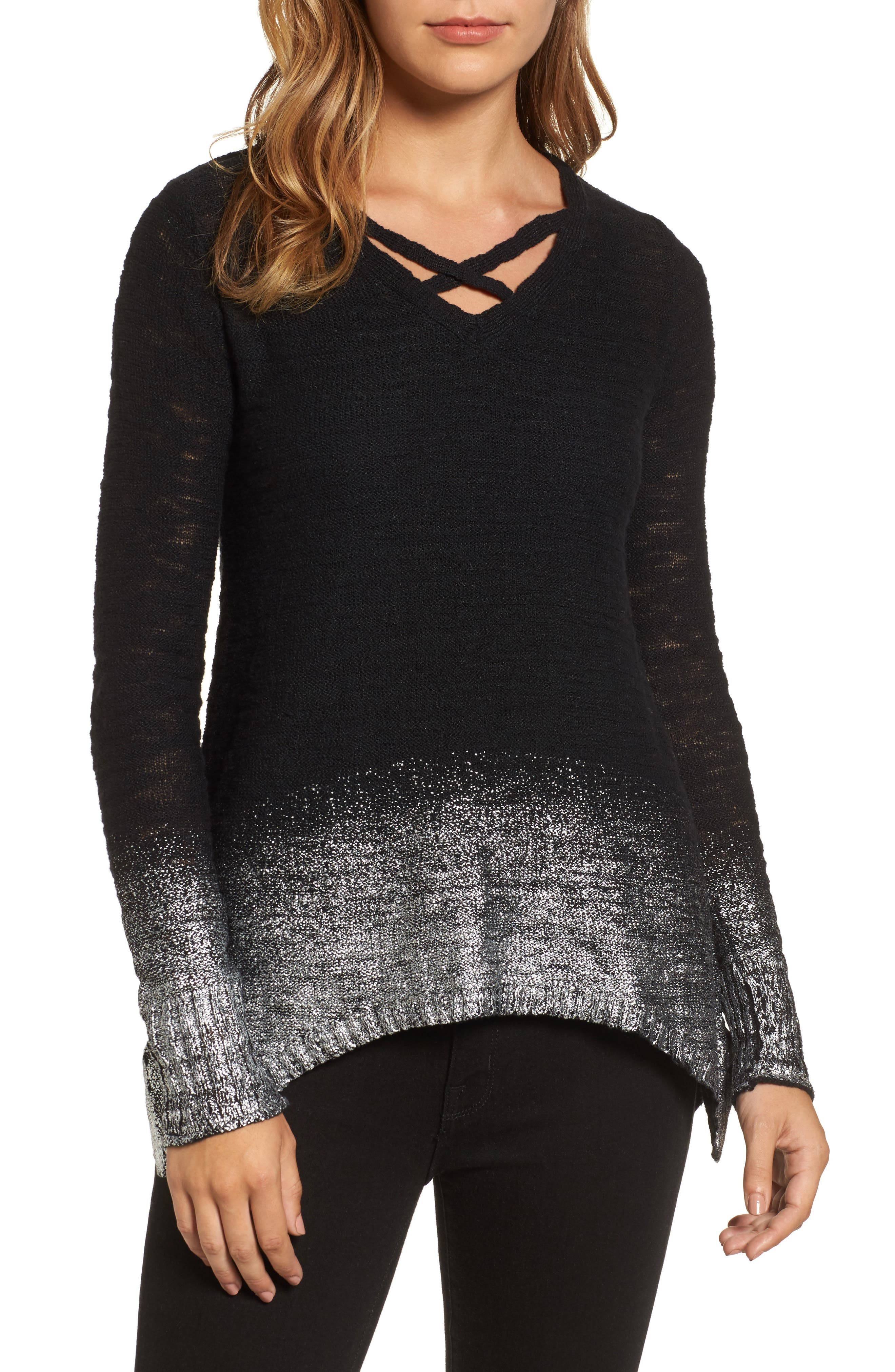 Foil Dipped Sweater,                             Main thumbnail 1, color,                             Black Silver