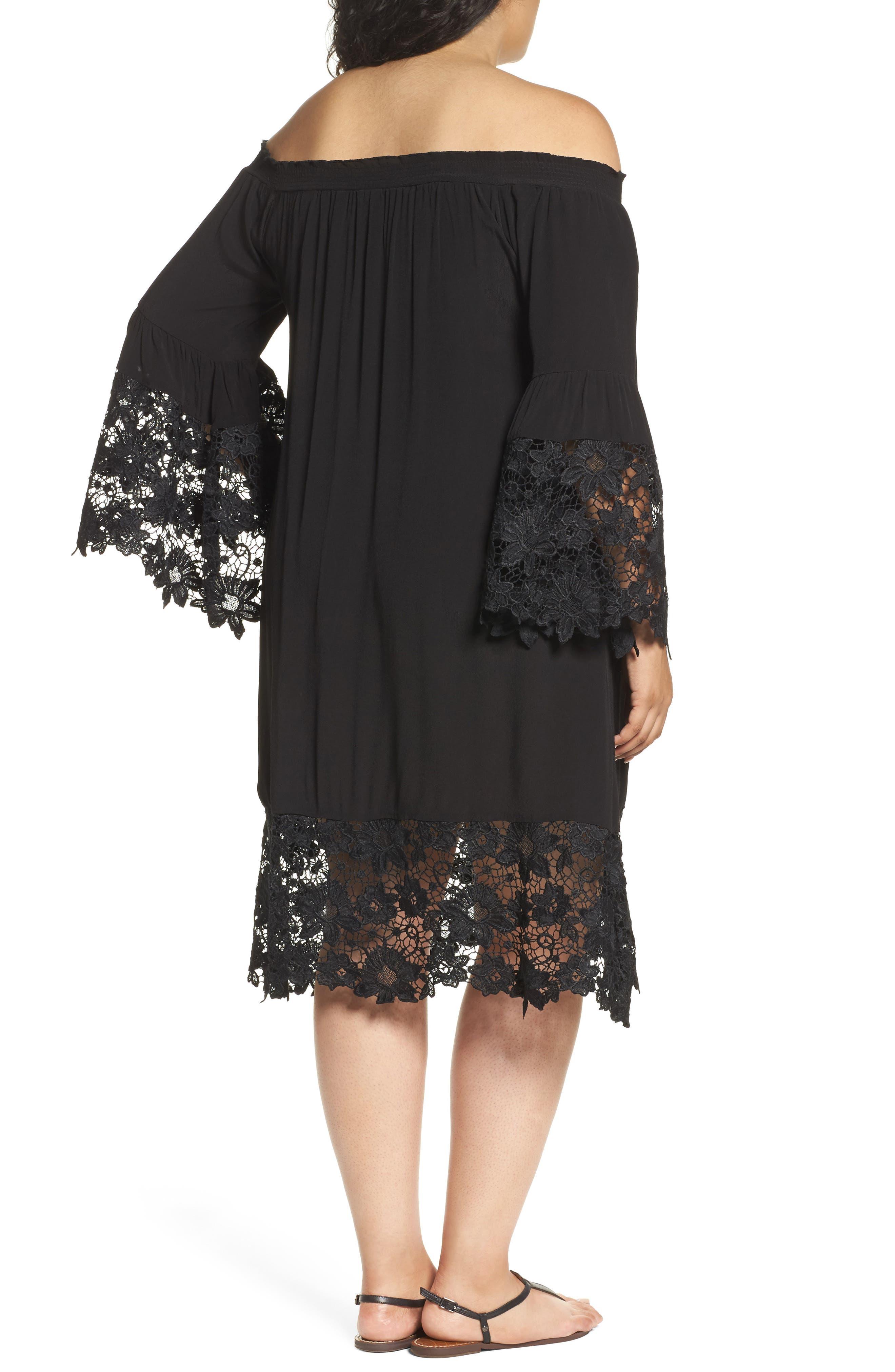 Jolie Lace Accent Cover-Up Dress,                             Alternate thumbnail 2, color,                             Black