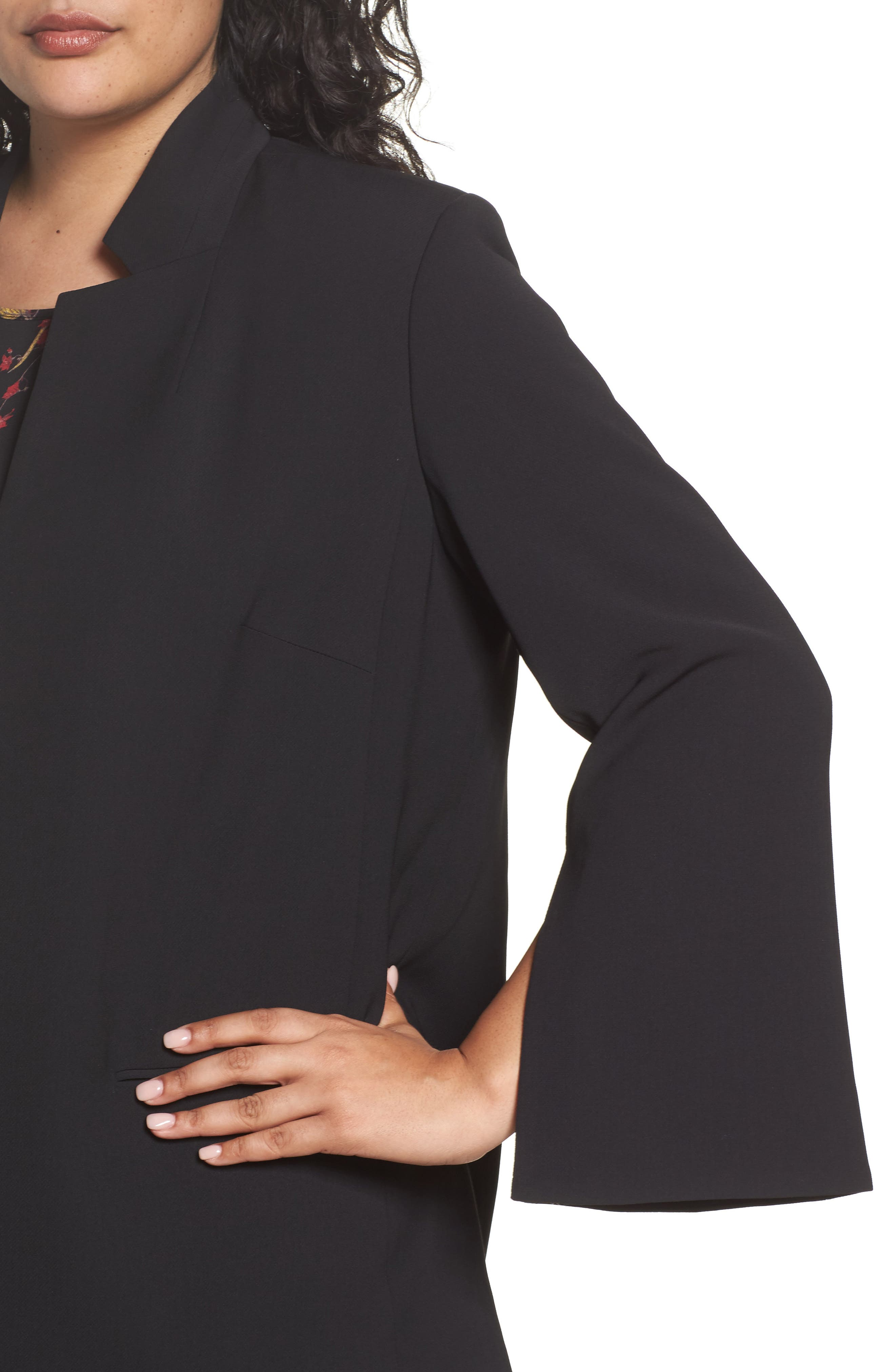 Split Bell Sleeve Blazer,                             Alternate thumbnail 4, color,                             Rich Black