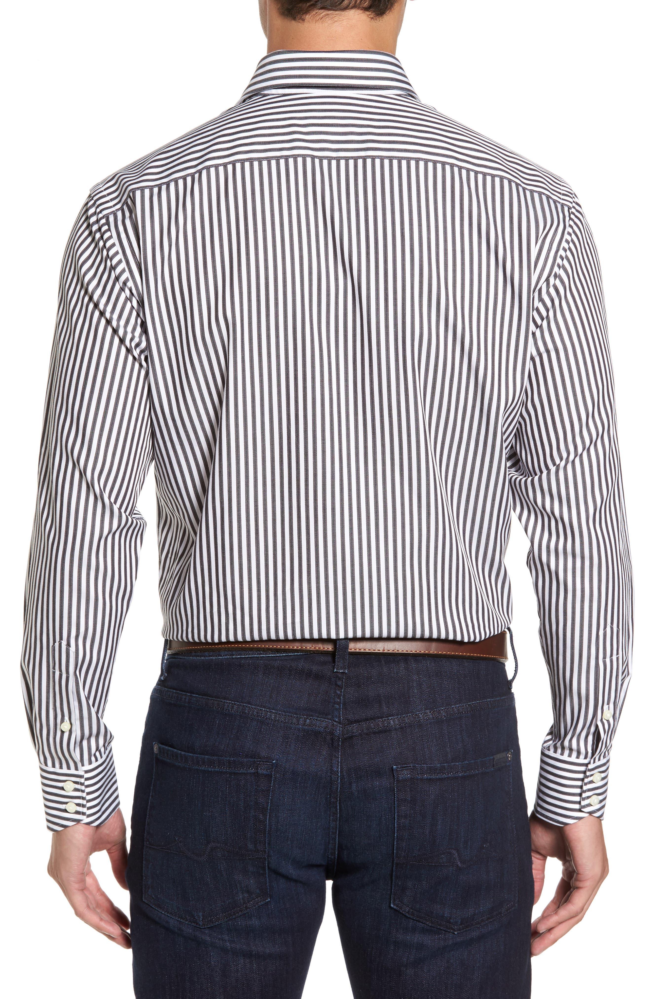 Alternate Image 2  - Thomas Dean Regular Fit Stripe Herringbone Sport Shirt