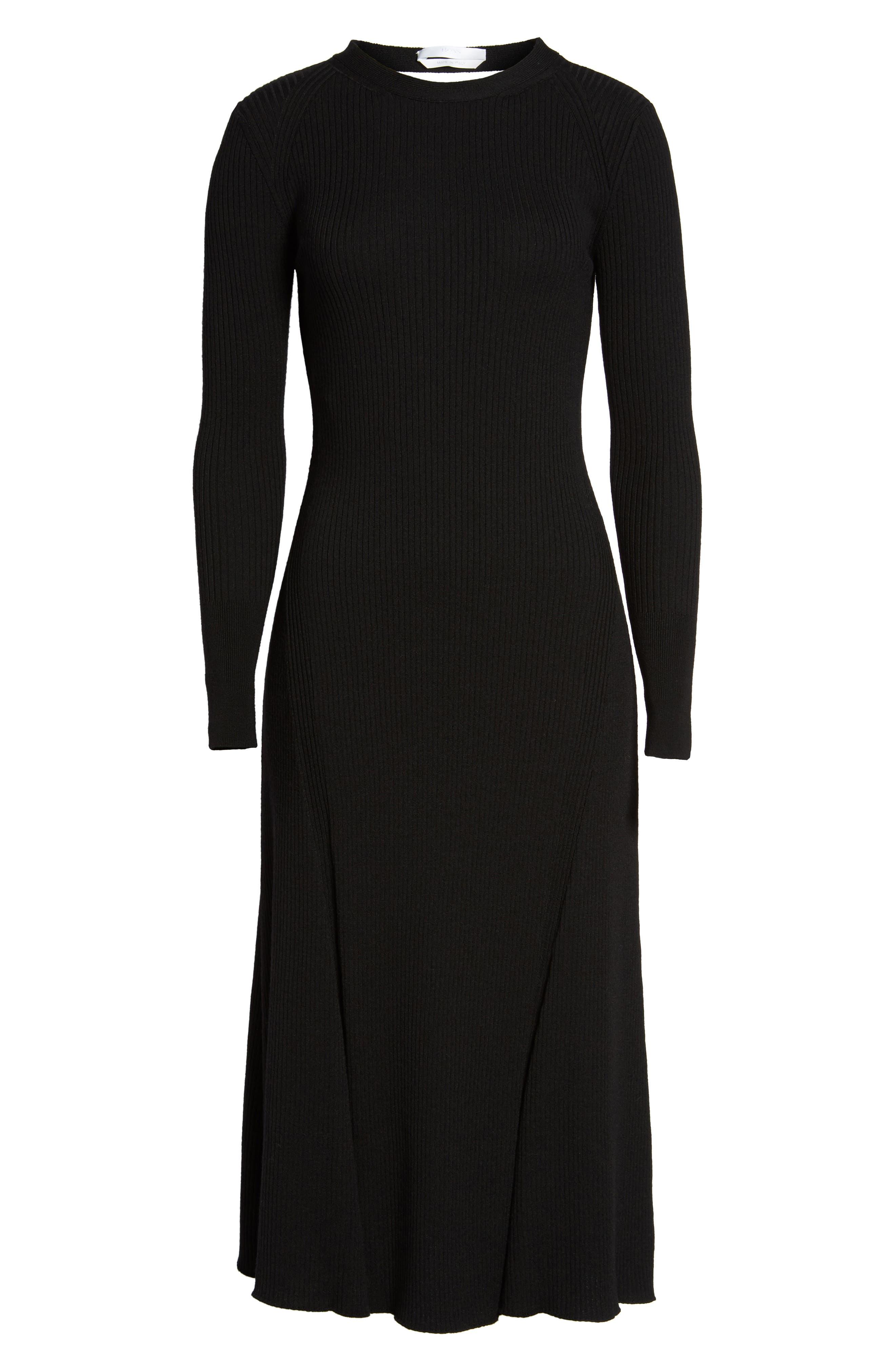 Faustine Midi Dress,                             Alternate thumbnail 6, color,                             Black