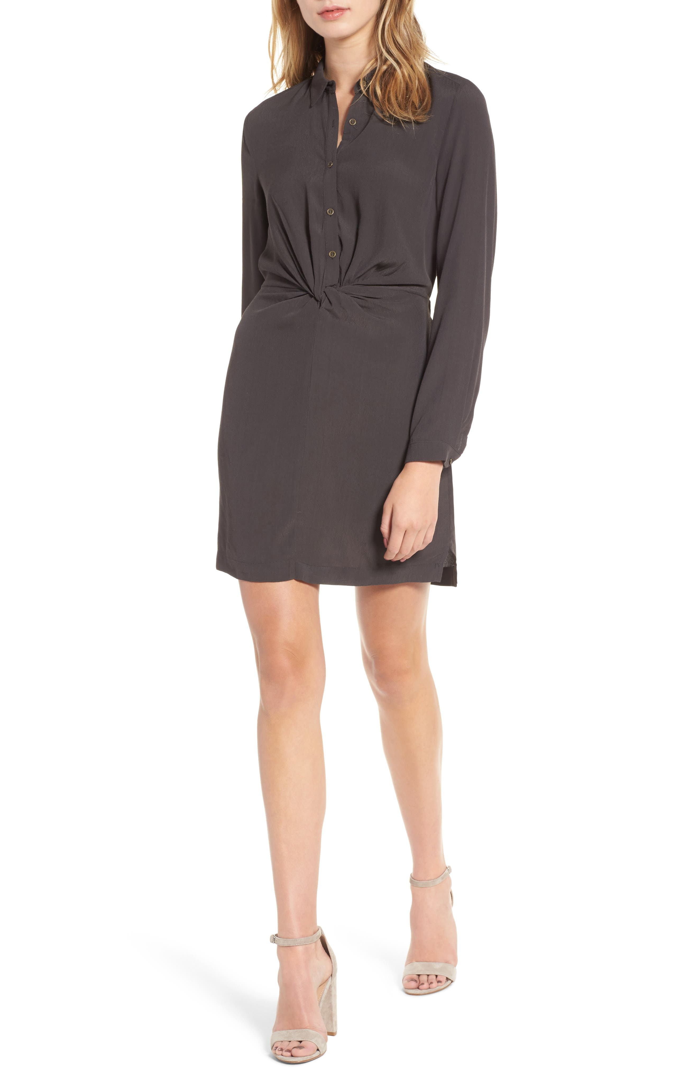 Twisted Shirtdress,                         Main,                         color, Charcoal
