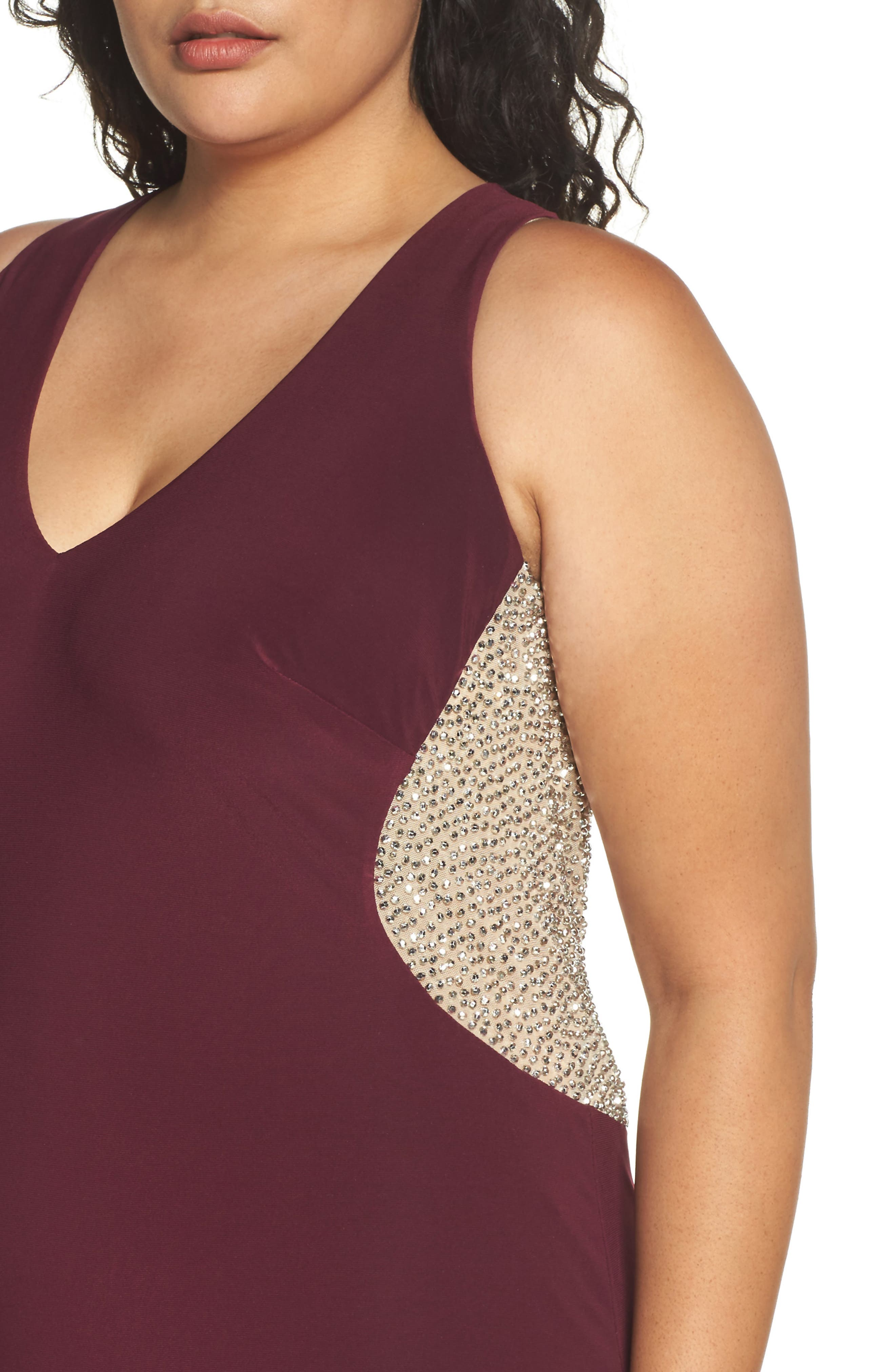 Alternate Image 4  - Xscape Embellished Back Jersey Gown (Plus Size)