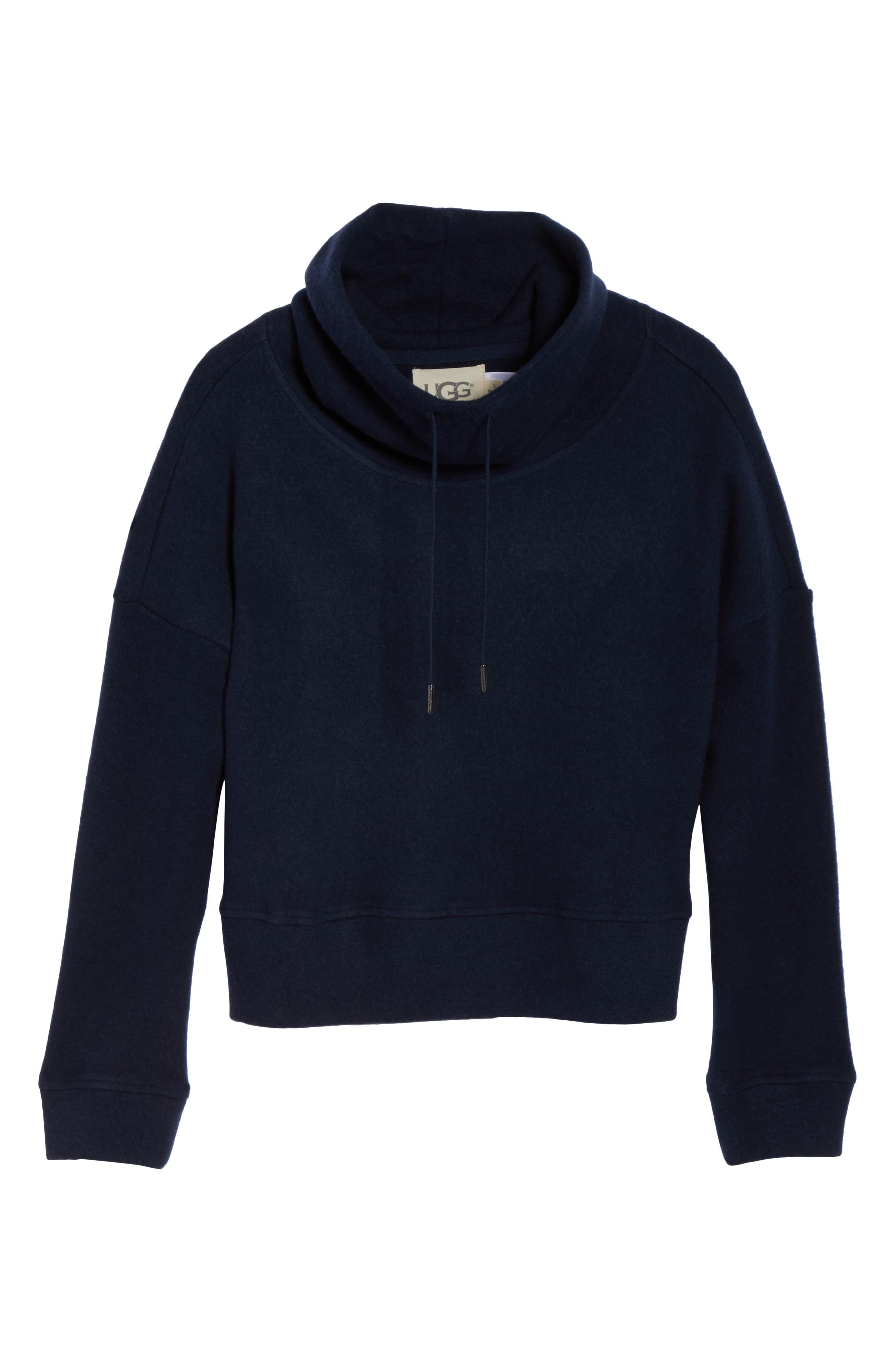 Funnel Neck Crop Merino Wool Sweatshirt,                             Alternate thumbnail 4, color,                             Navy Heather