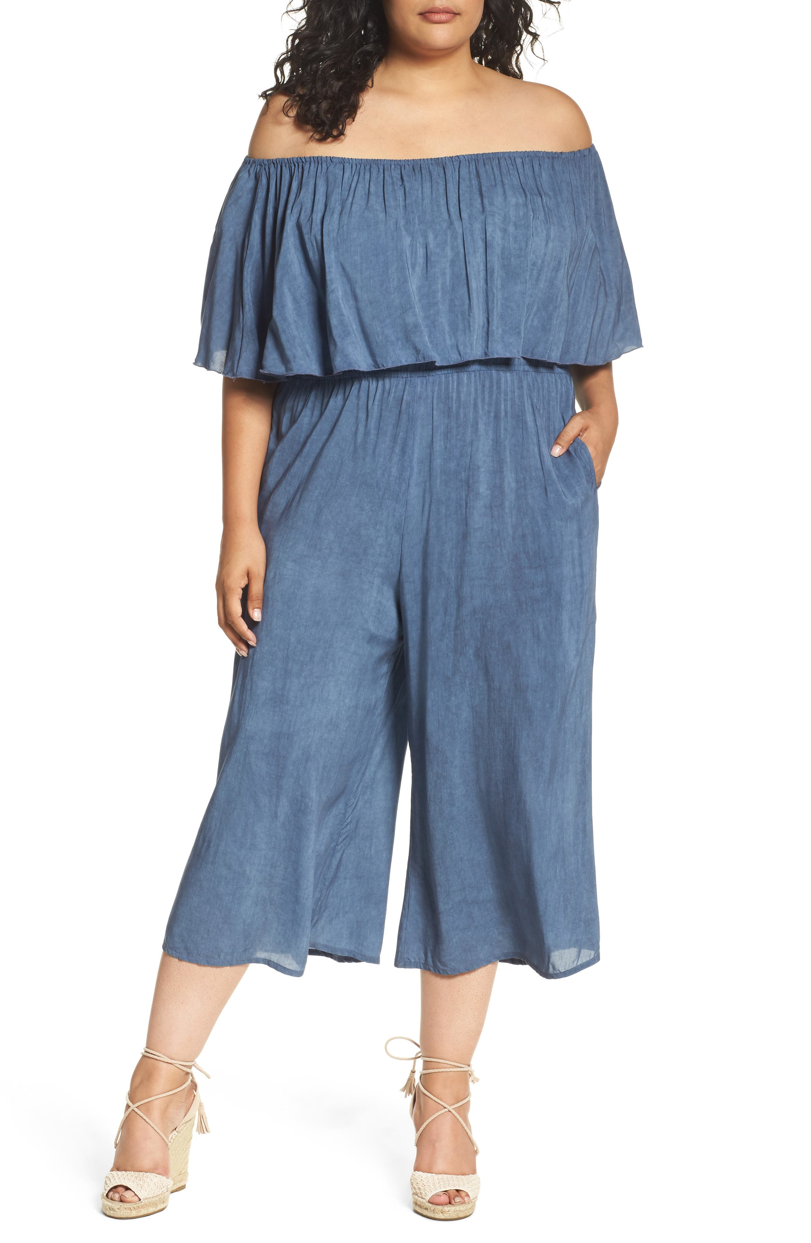 Elan Off the Shoulder Cover-Up Jumpsuit (Plus Size)