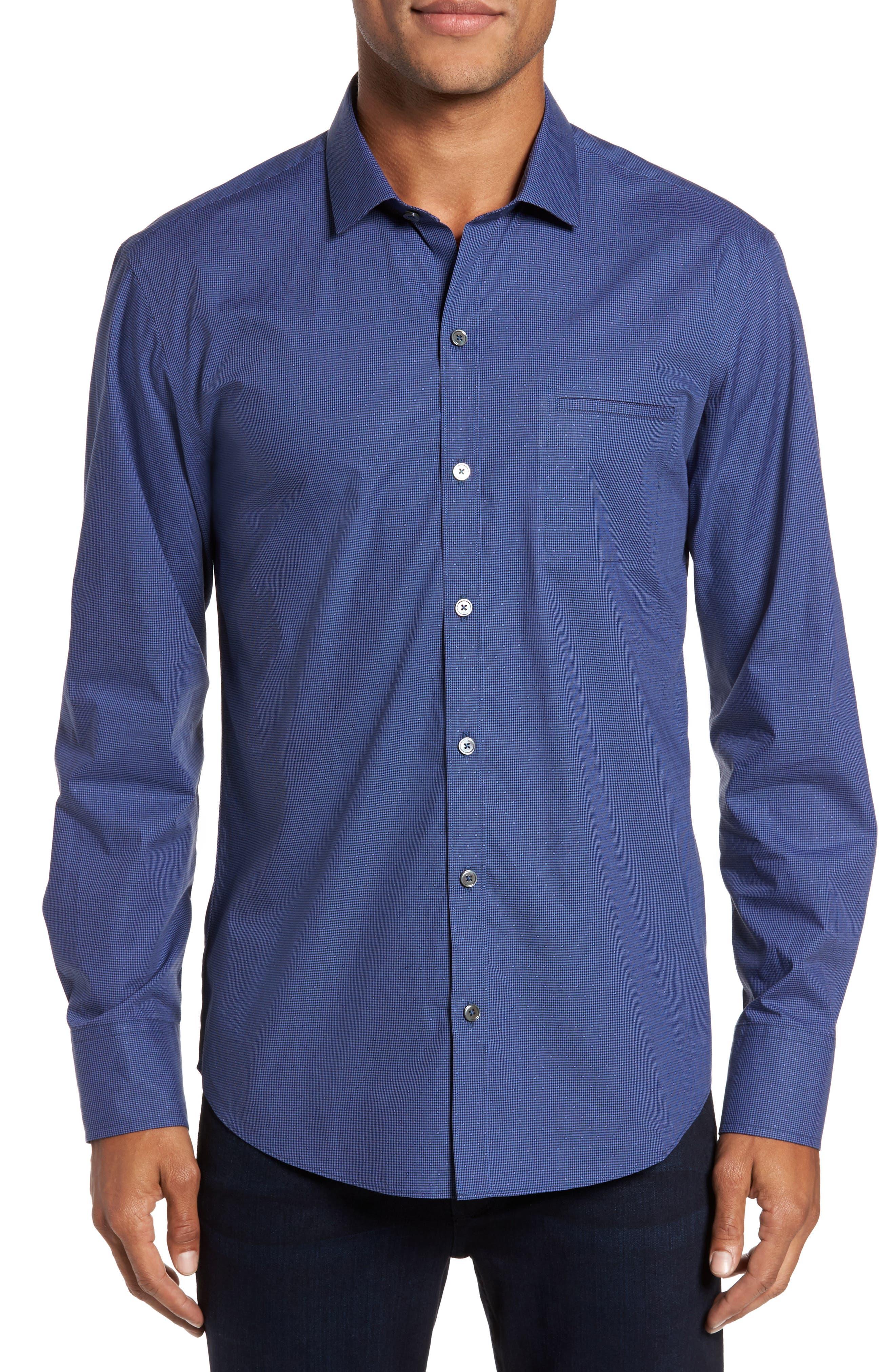Galileo Dobby Microcheck Sport Shirt,                         Main,                         color, Navy