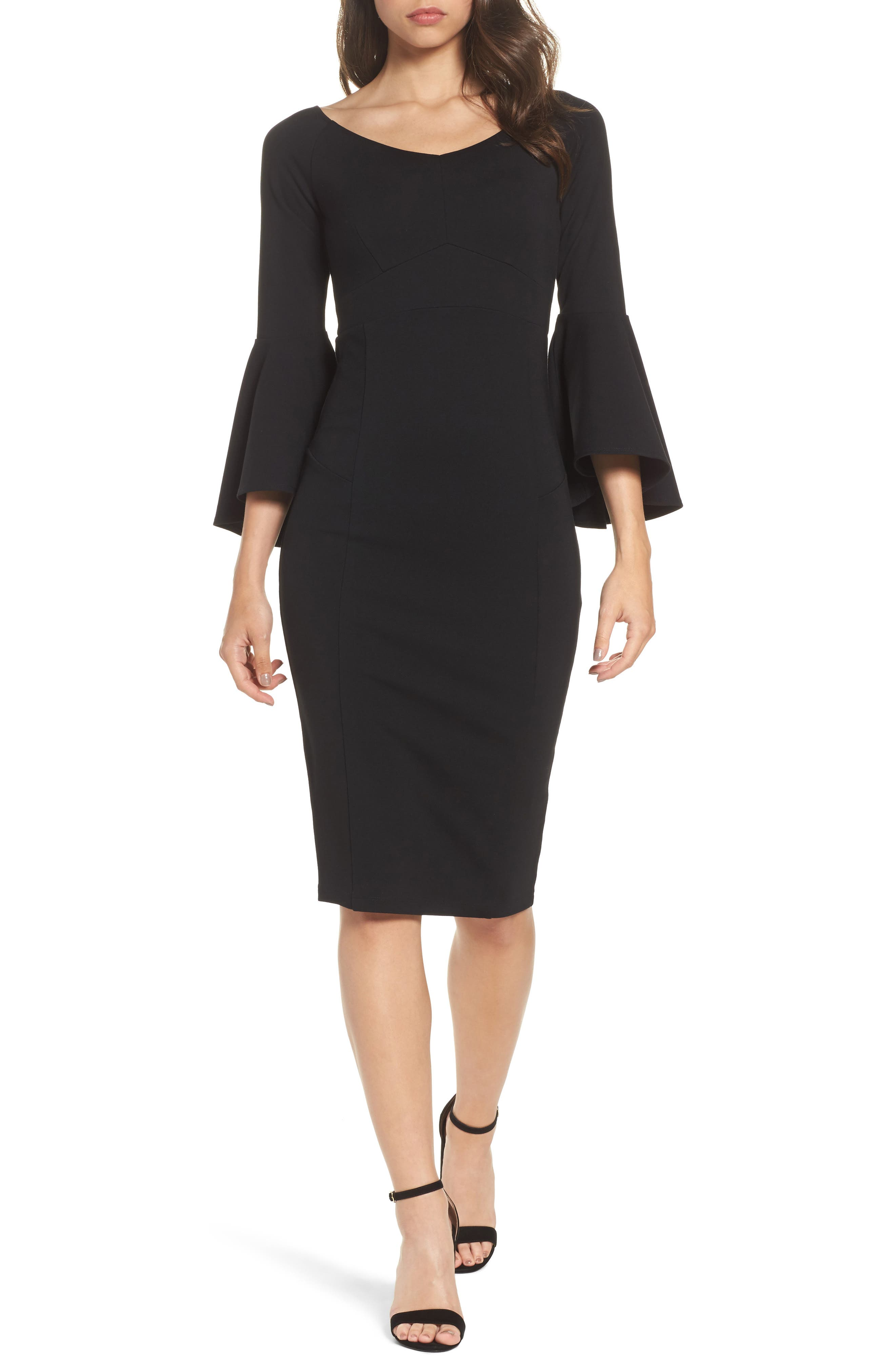 Milly Bell Sleeve Midi Dress,                         Main,                         color, Black