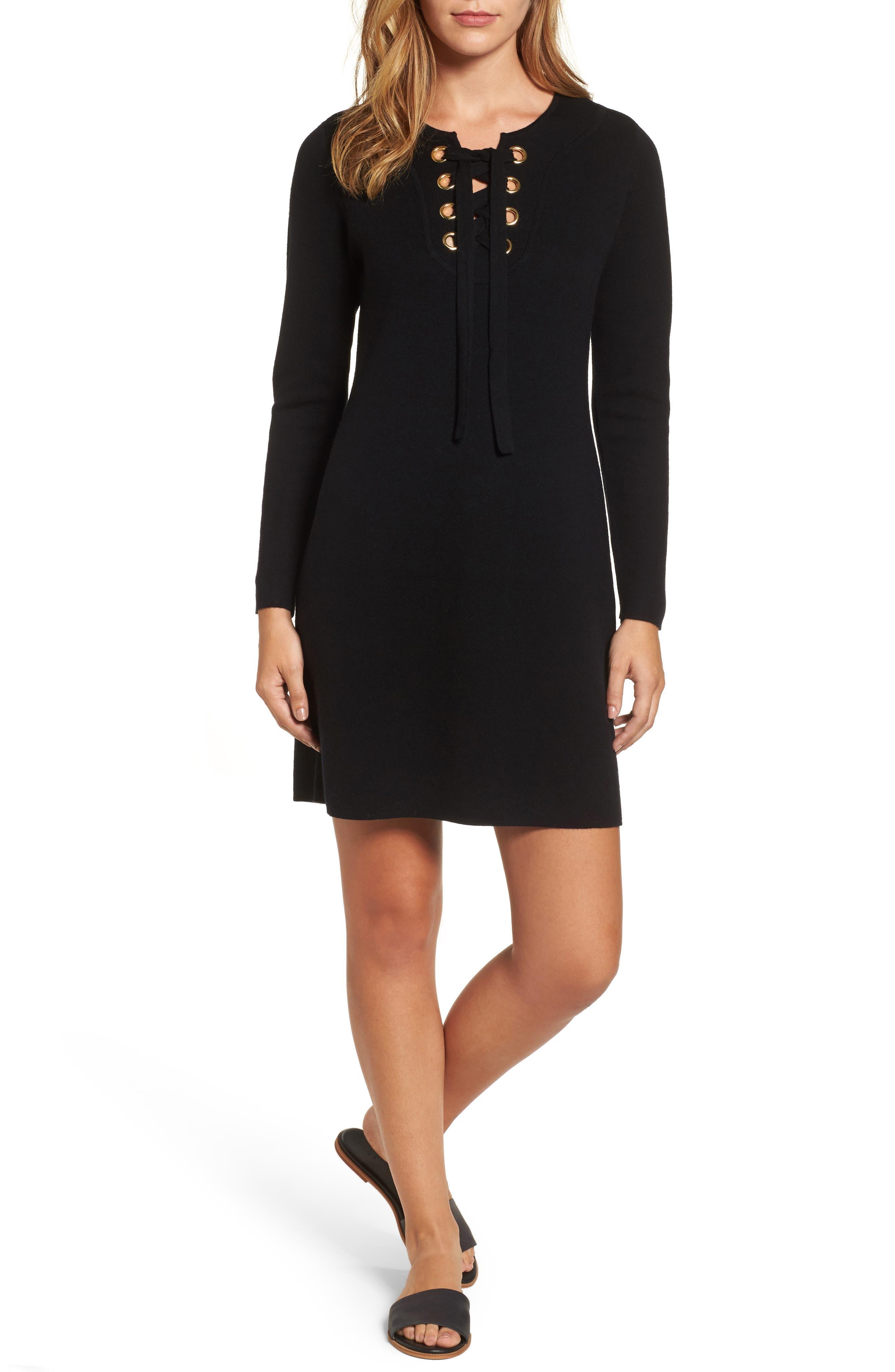 Lace-Up Sweater Dress,                         Main,                         color, Jet Black