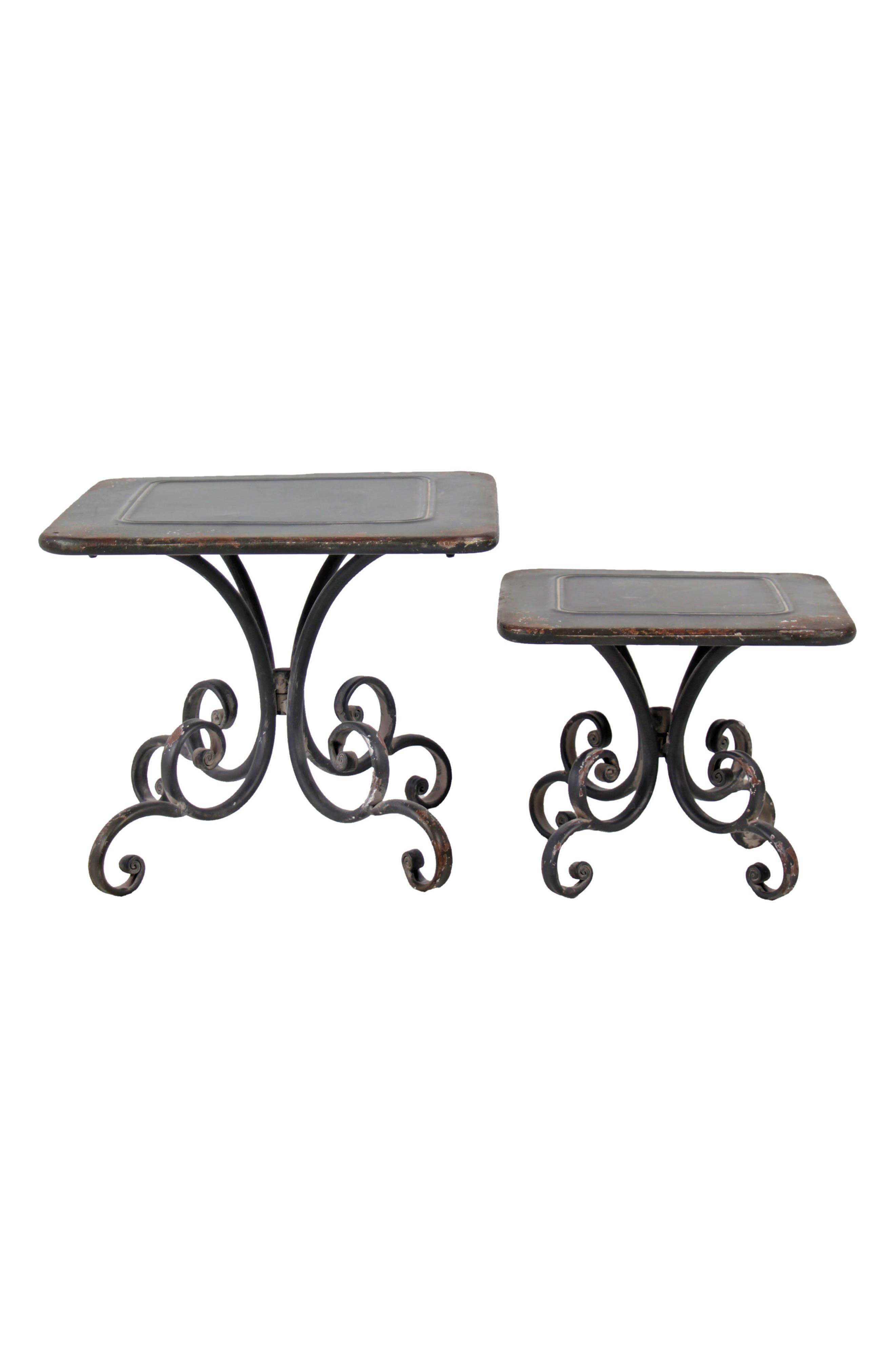Scroll Set of 2 Pedestals,                         Main,                         color, Metal
