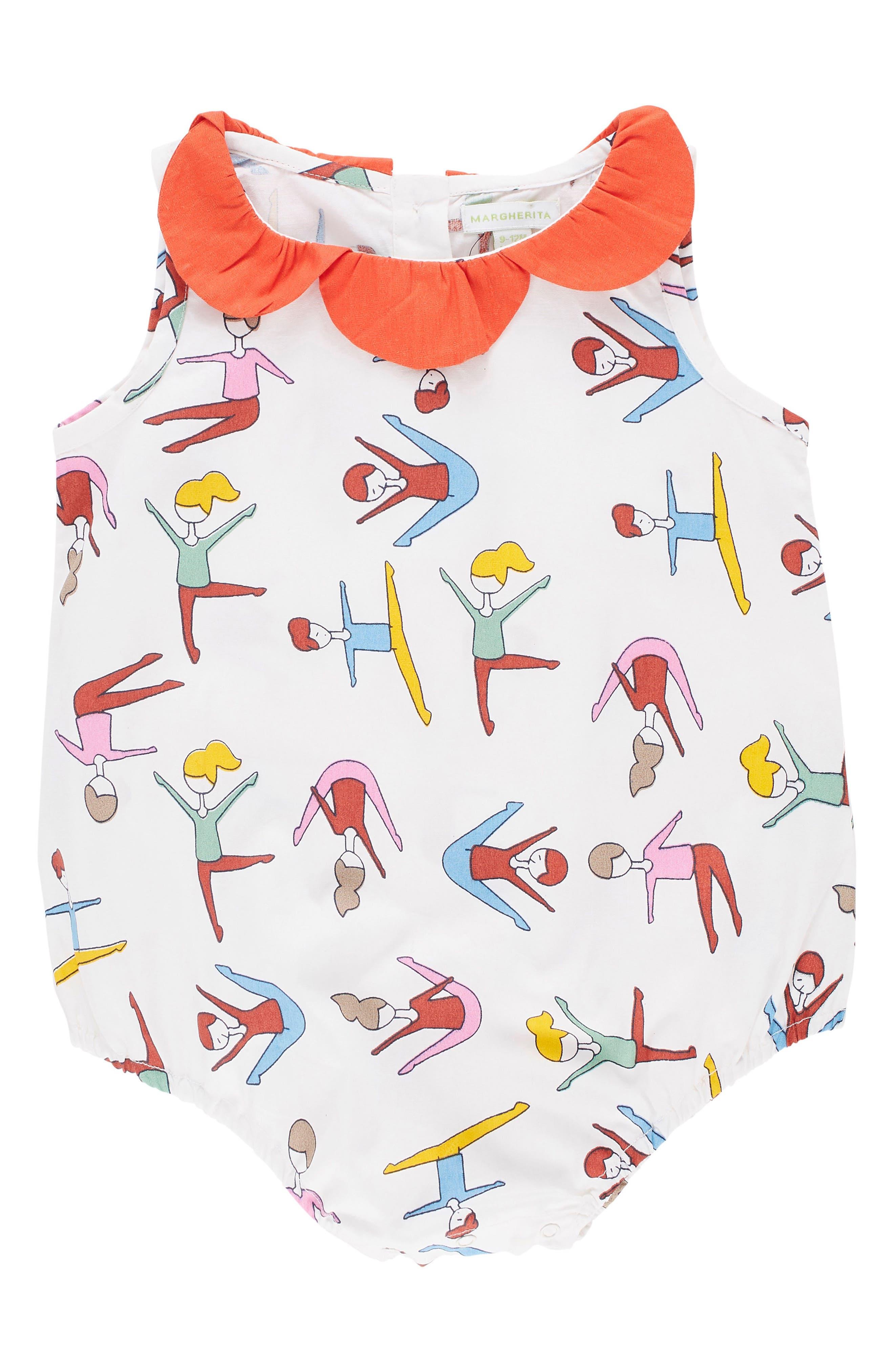 Alternate Image 1 Selected - Margherita Stretching Print Bubble Bodysuit (Baby Girls)