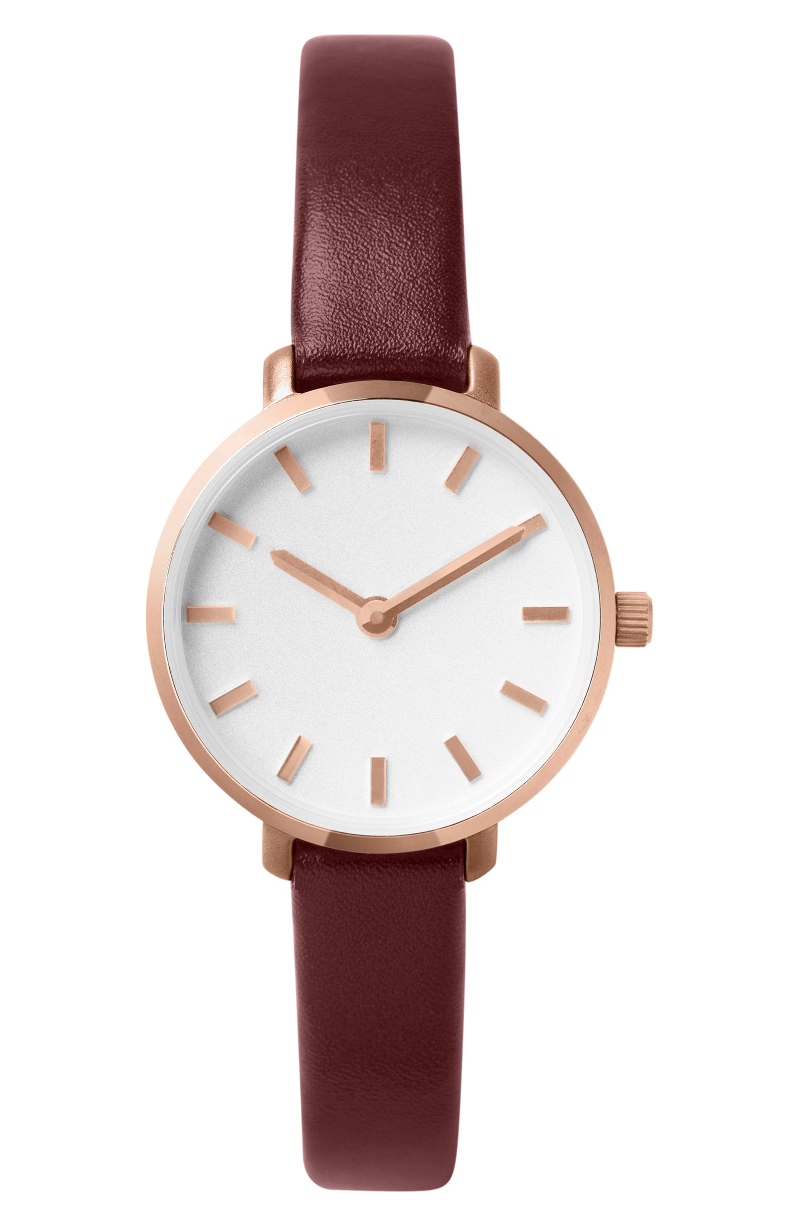 Beverly Round Leather Strap Watch, 26mm,                             Main thumbnail 1, color,                             Maroon/ Rose Gold