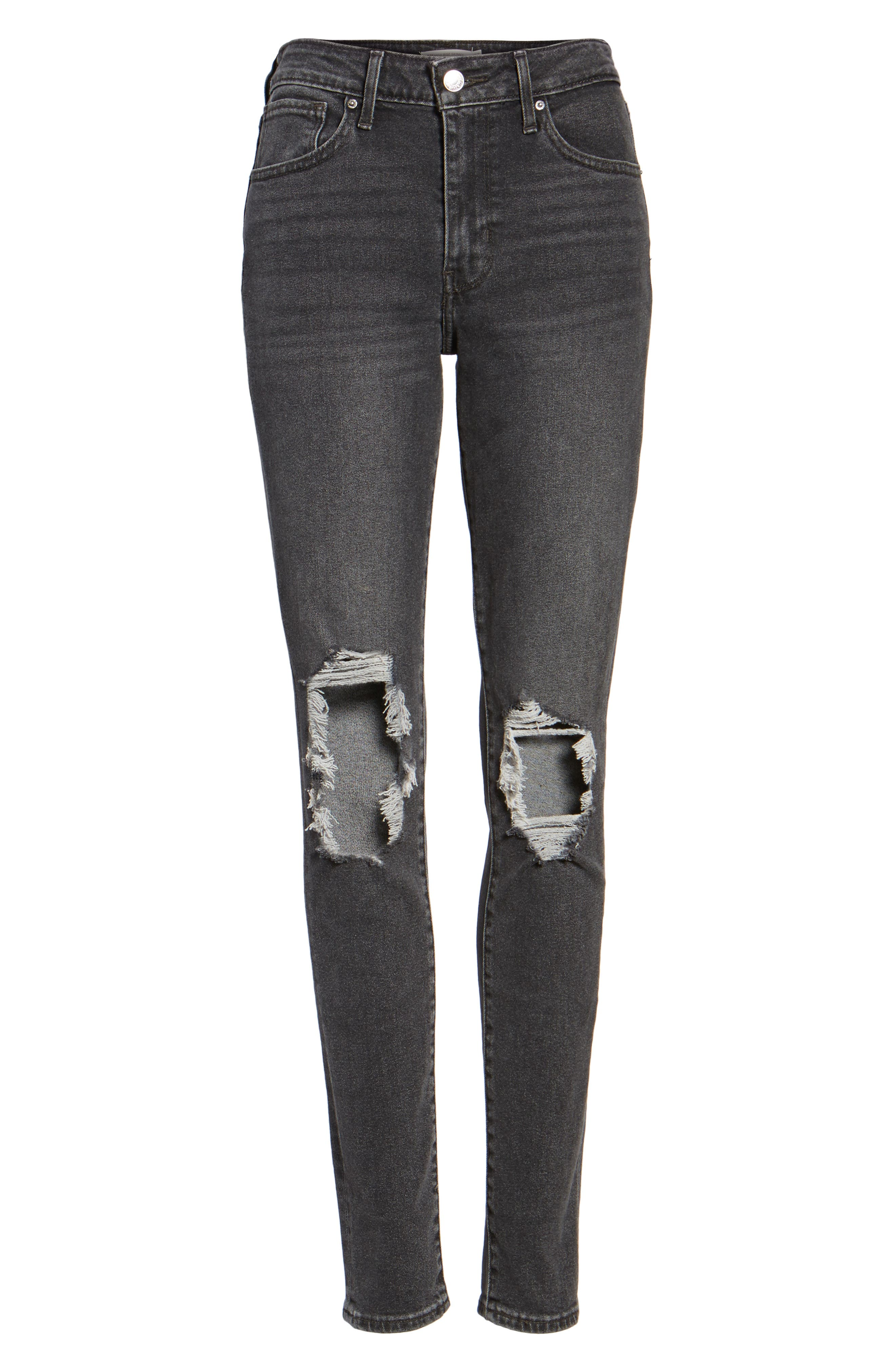 Alternate Image 6  - Levi's® 721 Ripped High Waist Skinny Jeans (Rugged Black)