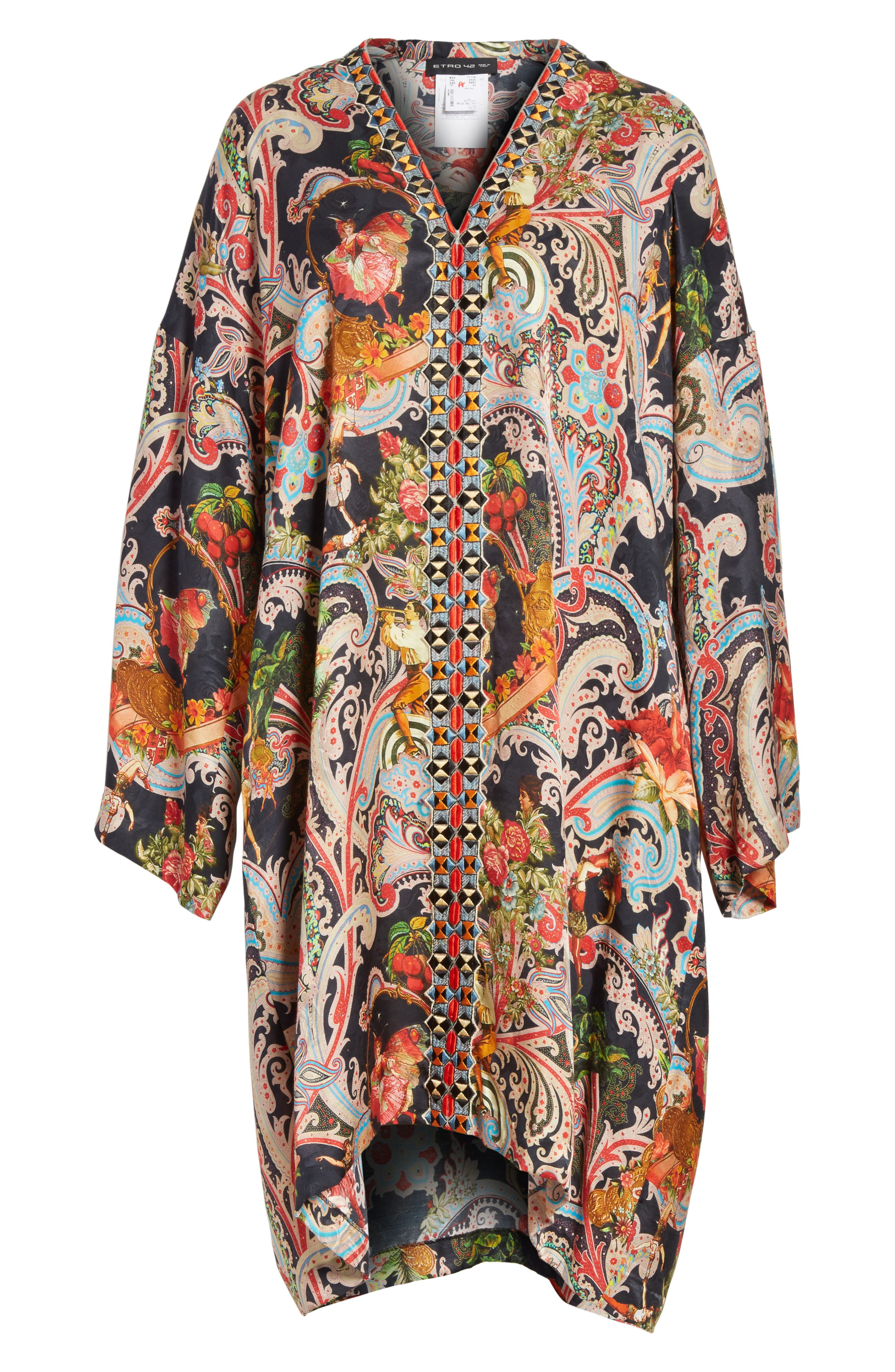 Print Caftan Dress,                             Alternate thumbnail 7, color,                             Black