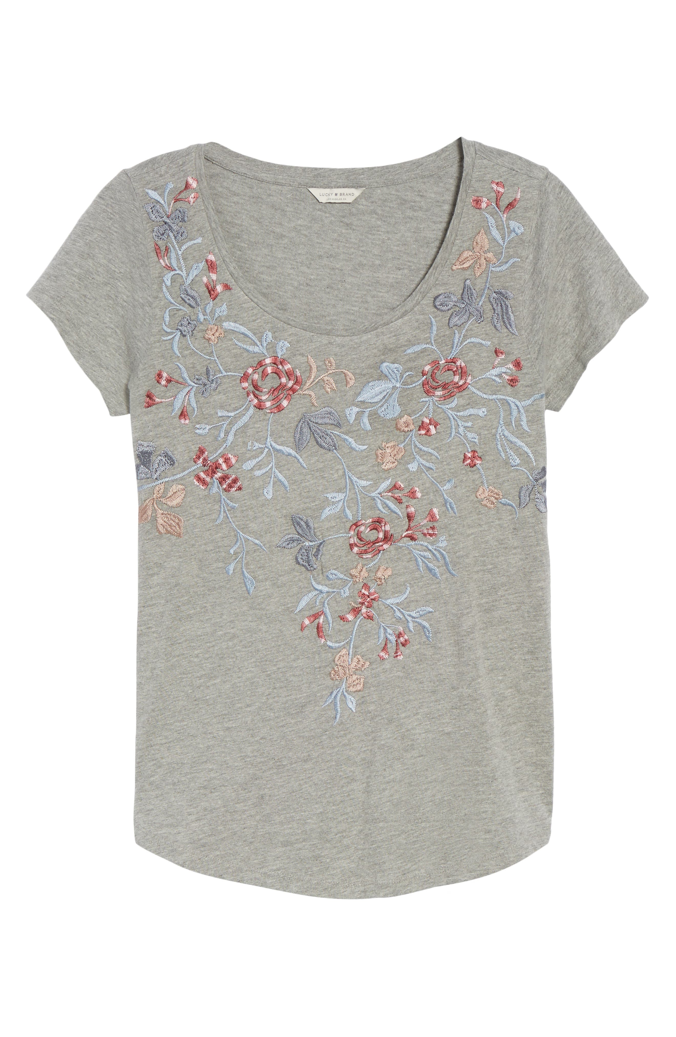 Floral Embroidered Tee,                             Alternate thumbnail 6, color,                             Heather Grey