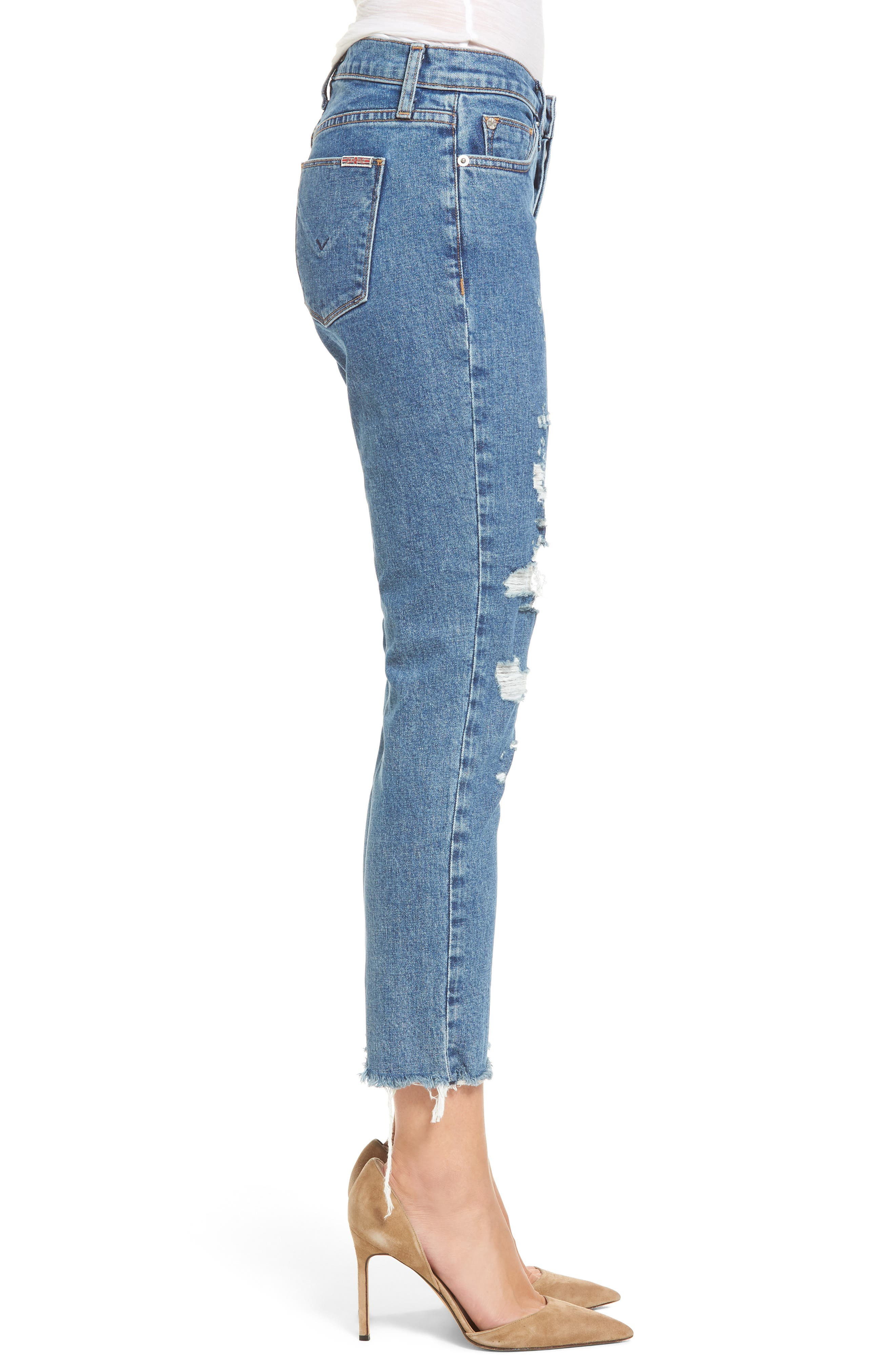 Alternate Image 3  - Hudson Jeans Riley Crop Relaxed Straight Leg Jeans (Continuum Destructed)