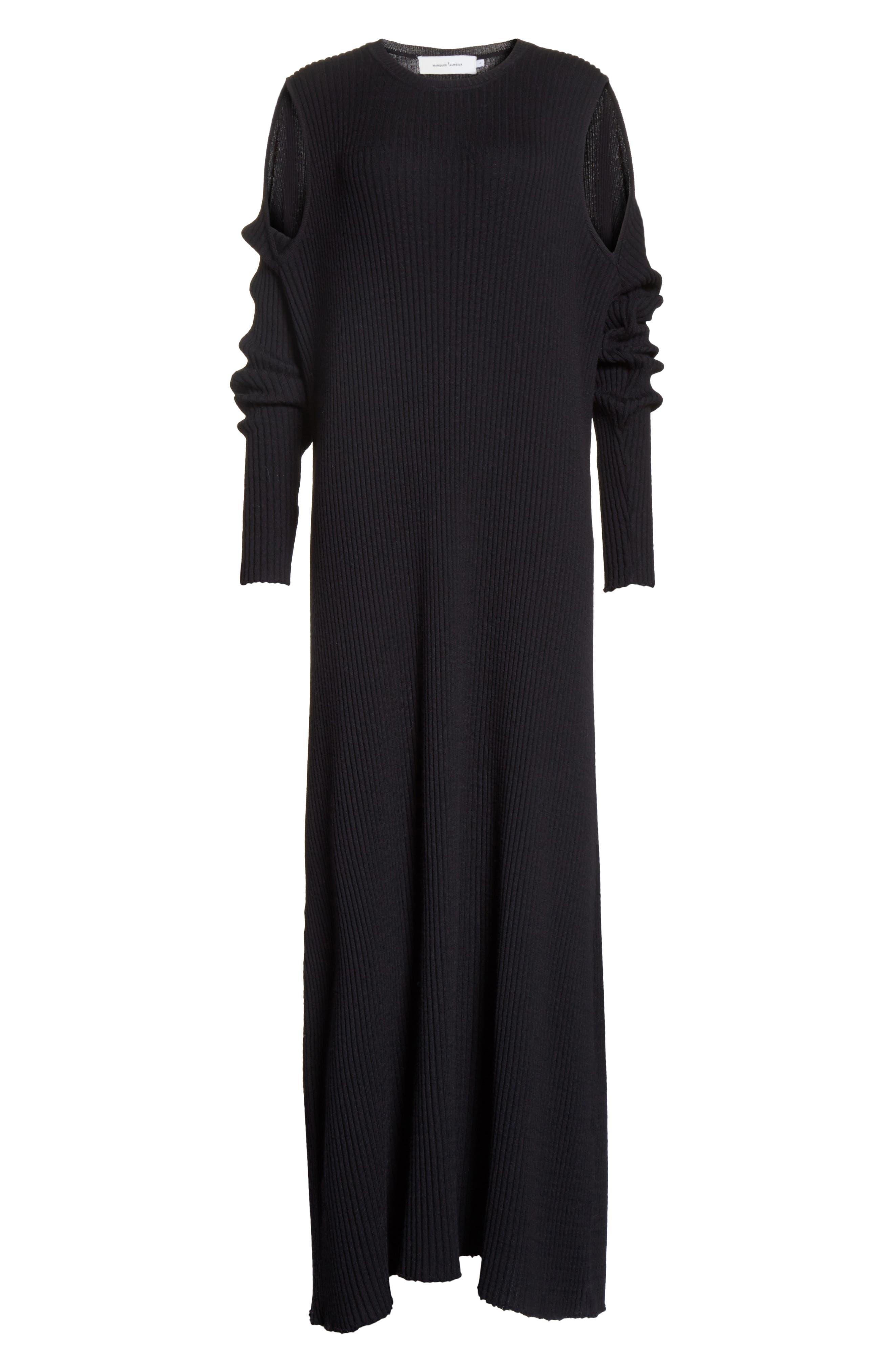 Alternate Image 6  - Marques'Almeida Ribbed Cold Shoulder Maxi Dress