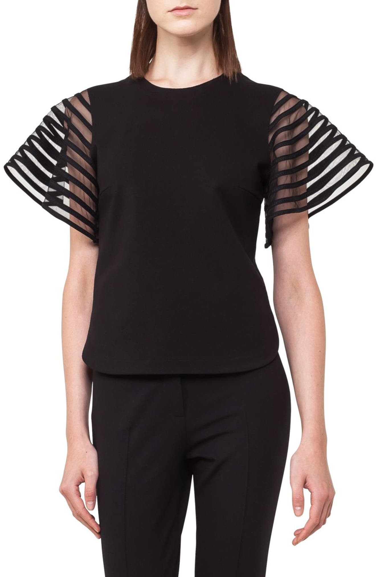 Stripe Tulle Sleeve Top,                             Main thumbnail 1, color,                             Black