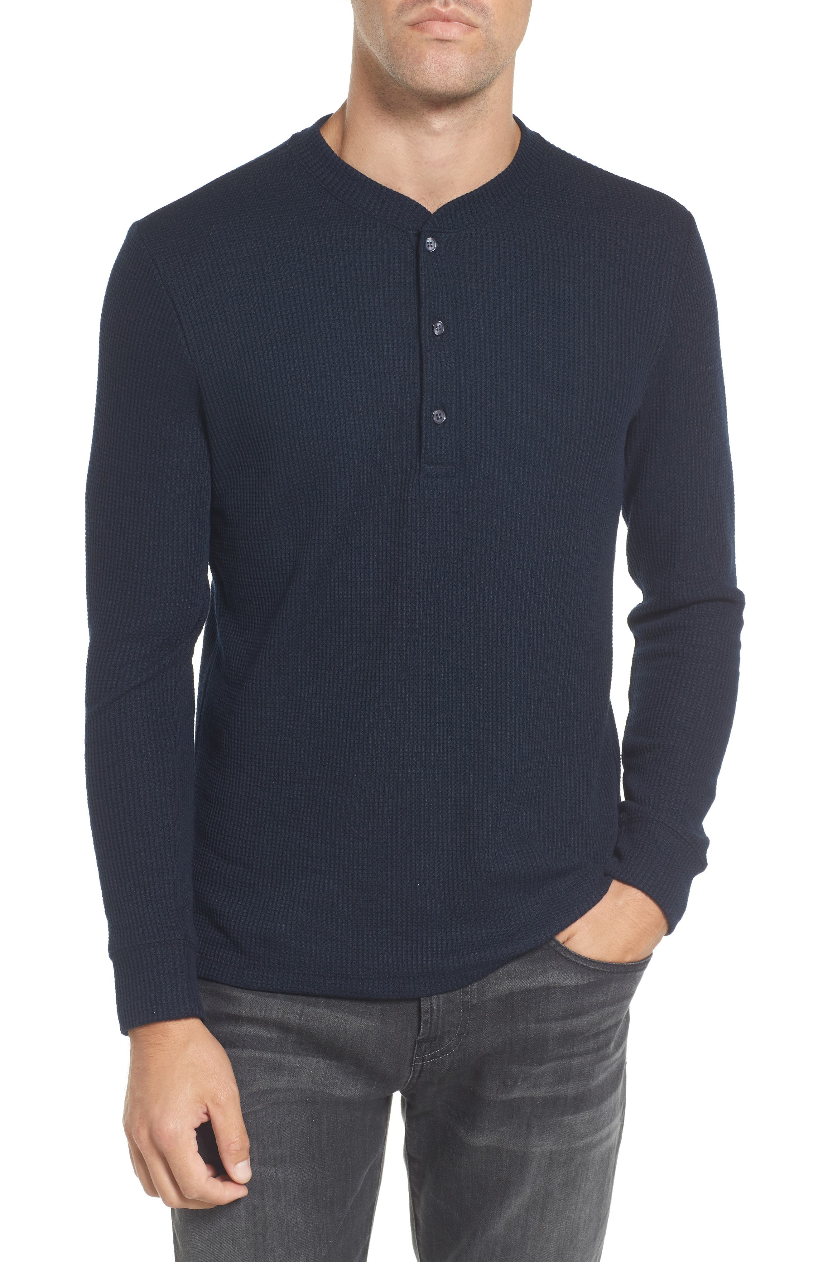 Slim Fit Long Sleeve Henley Shirt,                         Main,                         color, Stormy Night