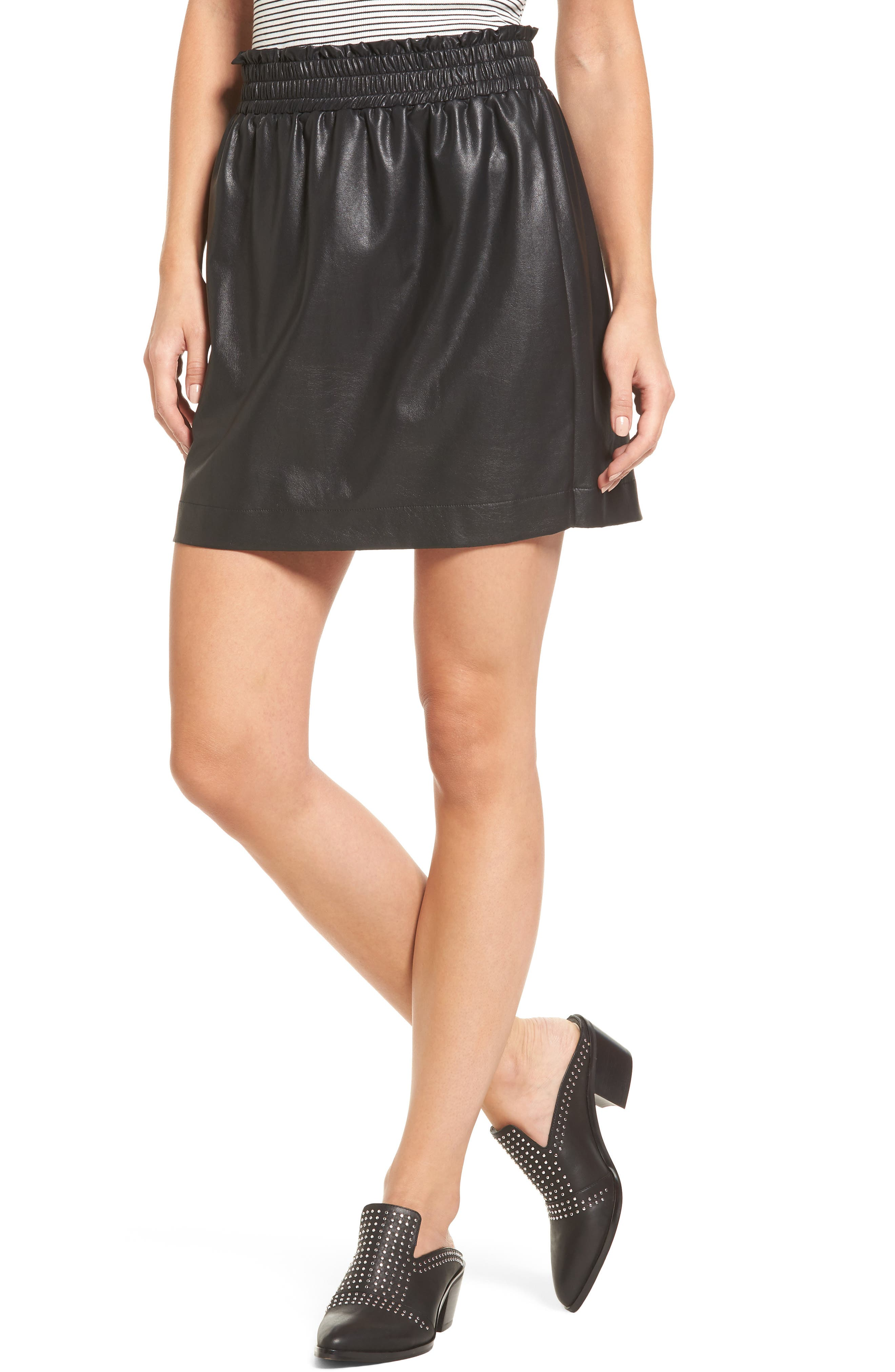 Faux Leather Paperbag Skirt,                         Main,                         color, Black