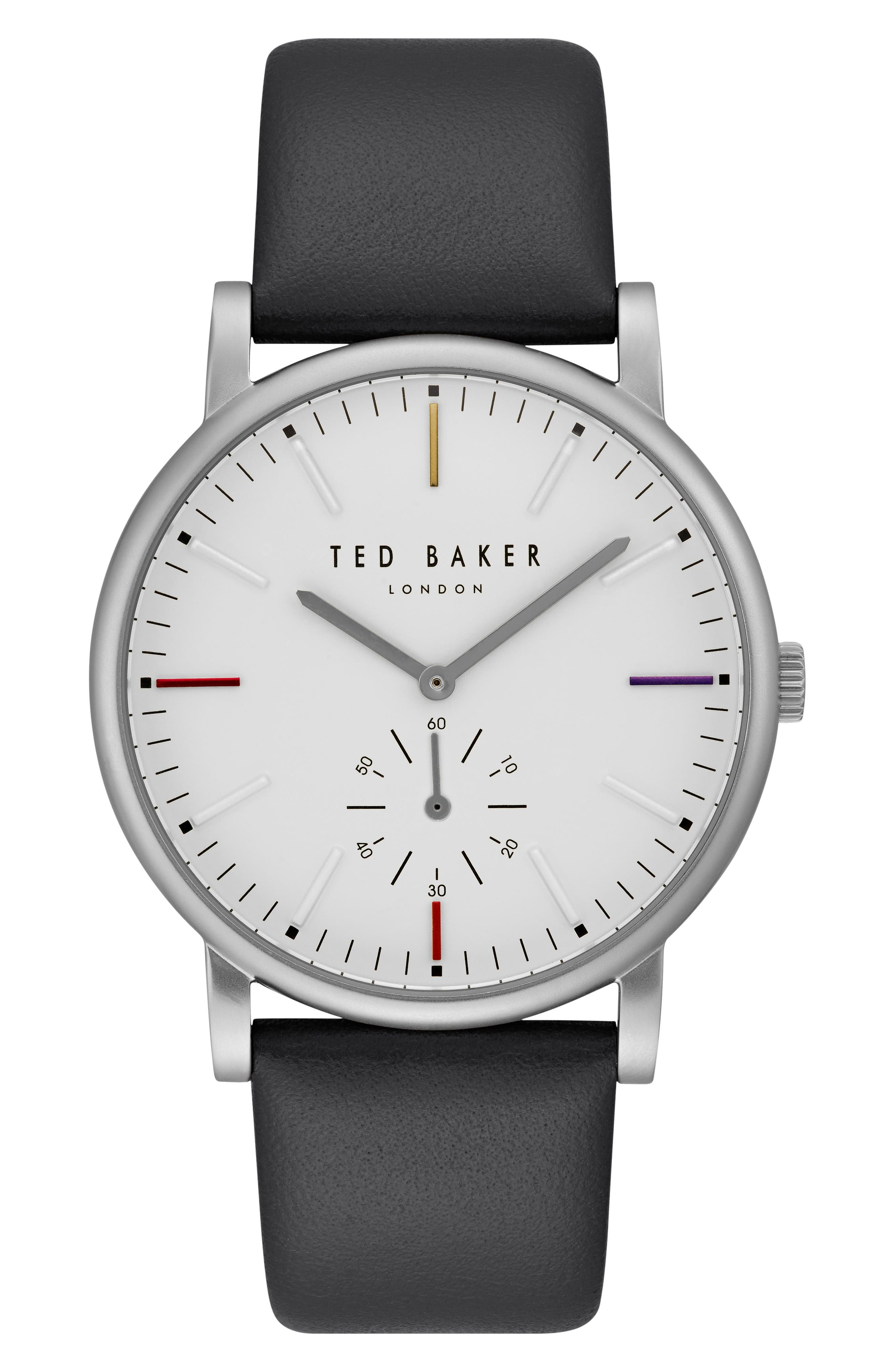 Ted Baker London Nolan Subeye Leather Strap Watch, 42mm