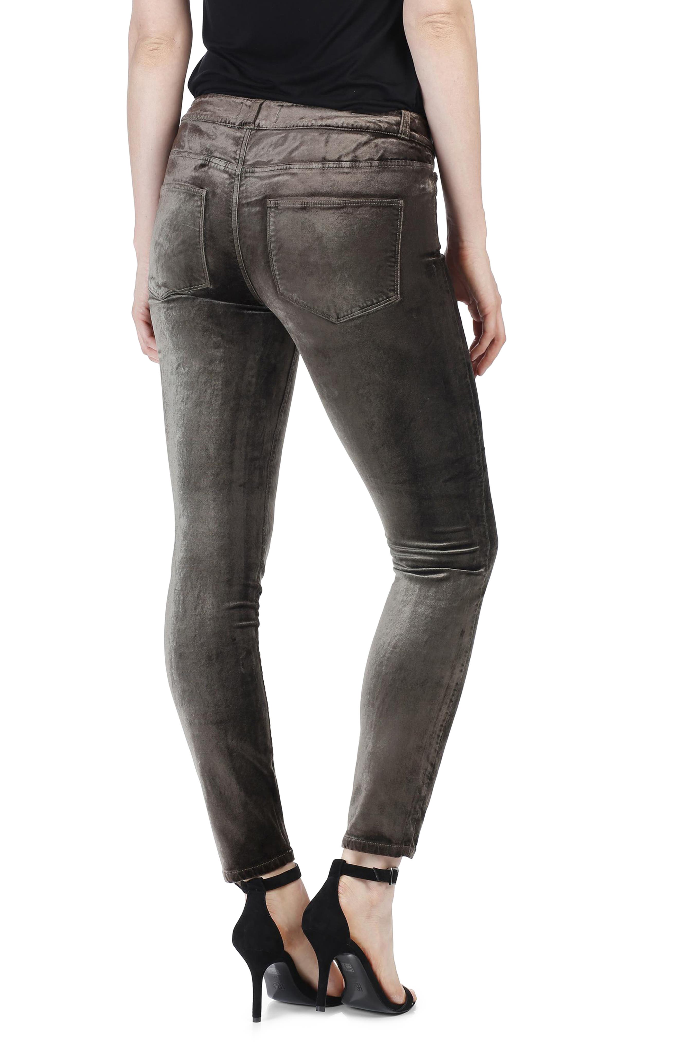 Verdugo Velvet Ankle Skinny Pants,                             Alternate thumbnail 2, color,                             Deep Juniper
